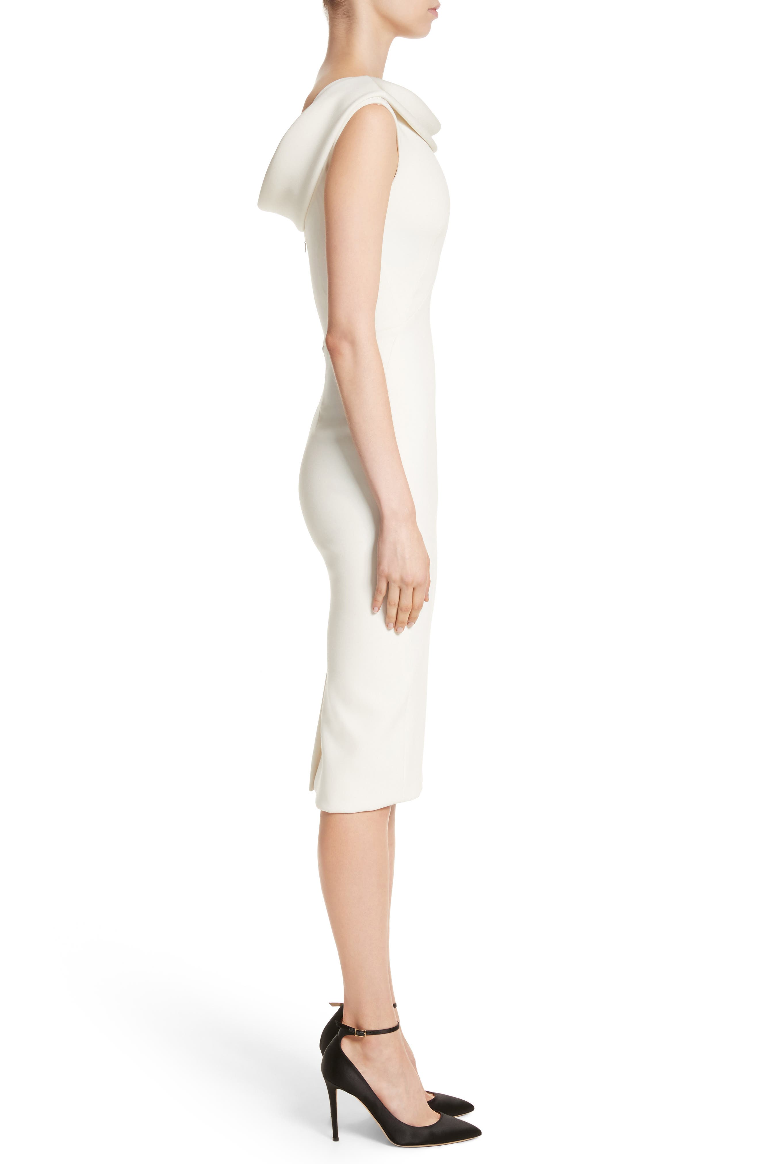 Bonded Crepe Cowl Neck Sheath Dress,                             Alternate thumbnail 3, color,                             IVORY