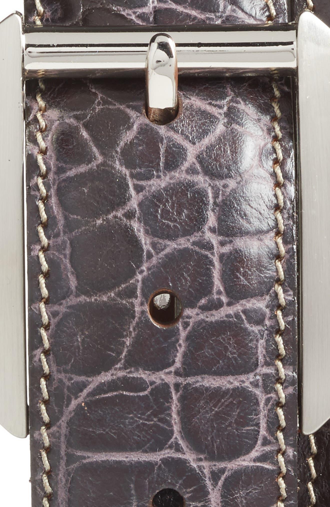 Embossed Leather Belt,                             Alternate thumbnail 2, color,                             DARK BROWN