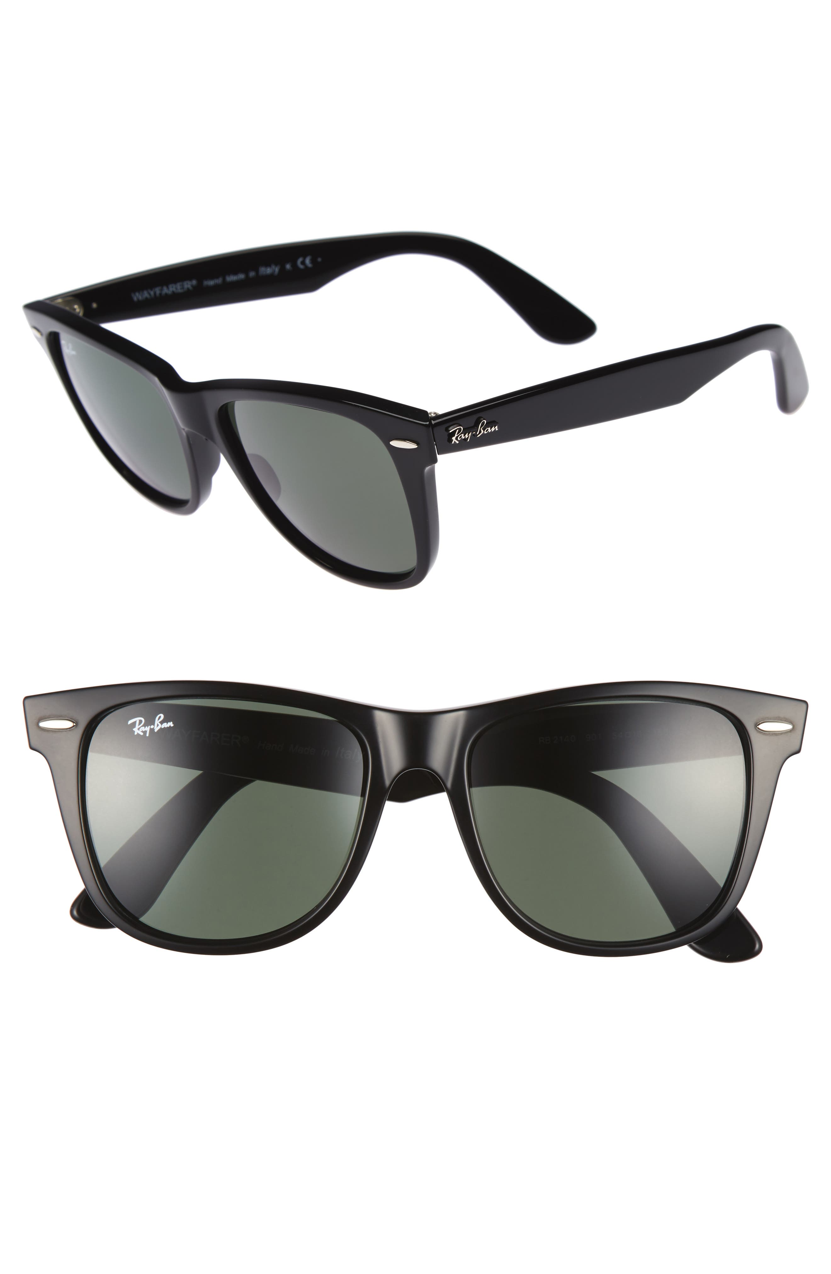 RAY-BAN Classic Wayfarer 54mm Sunglasses, Main, color, BLACK/ GREEN
