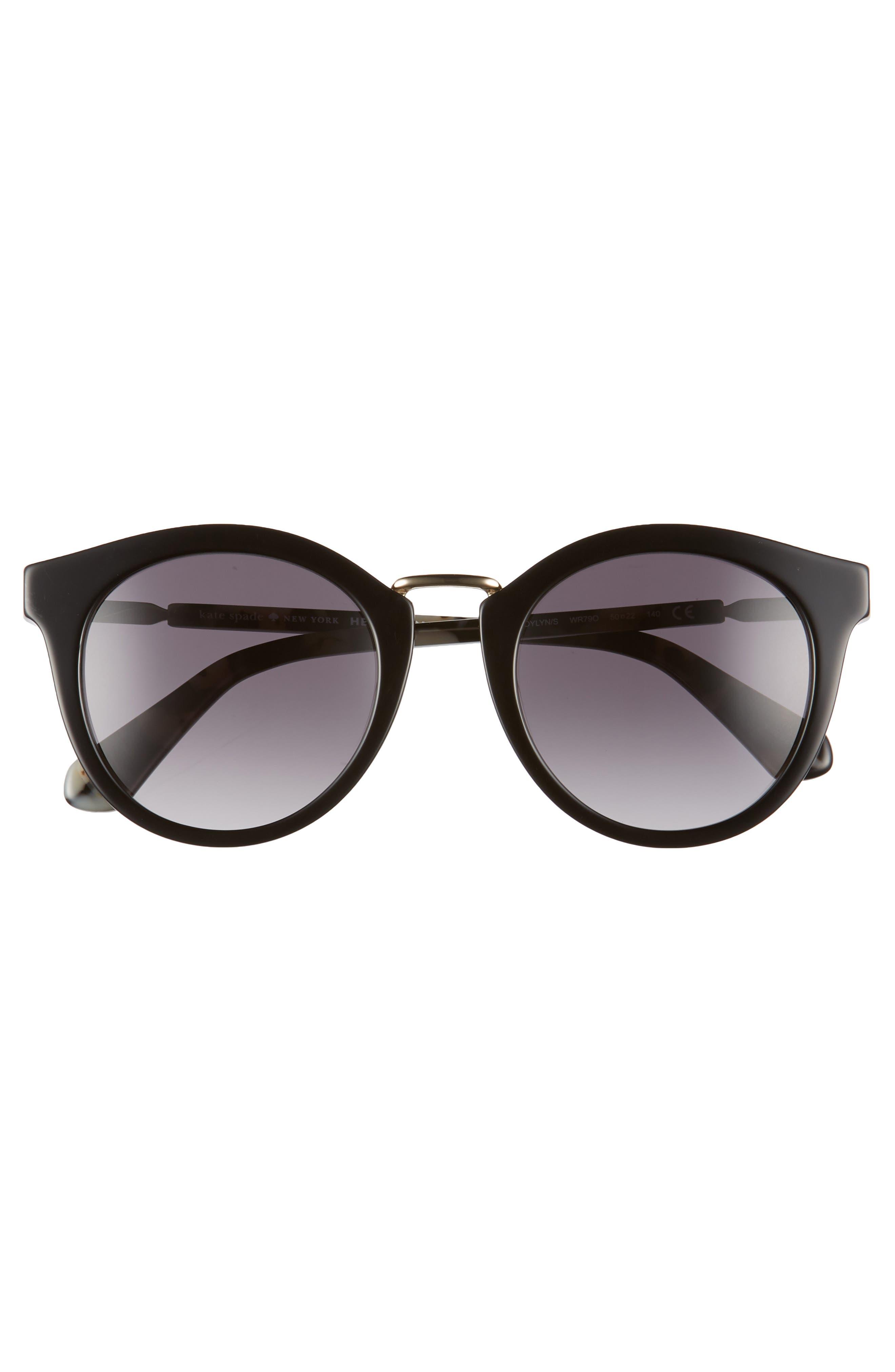 joylyn 50mm round sunglasses,                             Alternate thumbnail 3, color,                             BLACK HAVANA