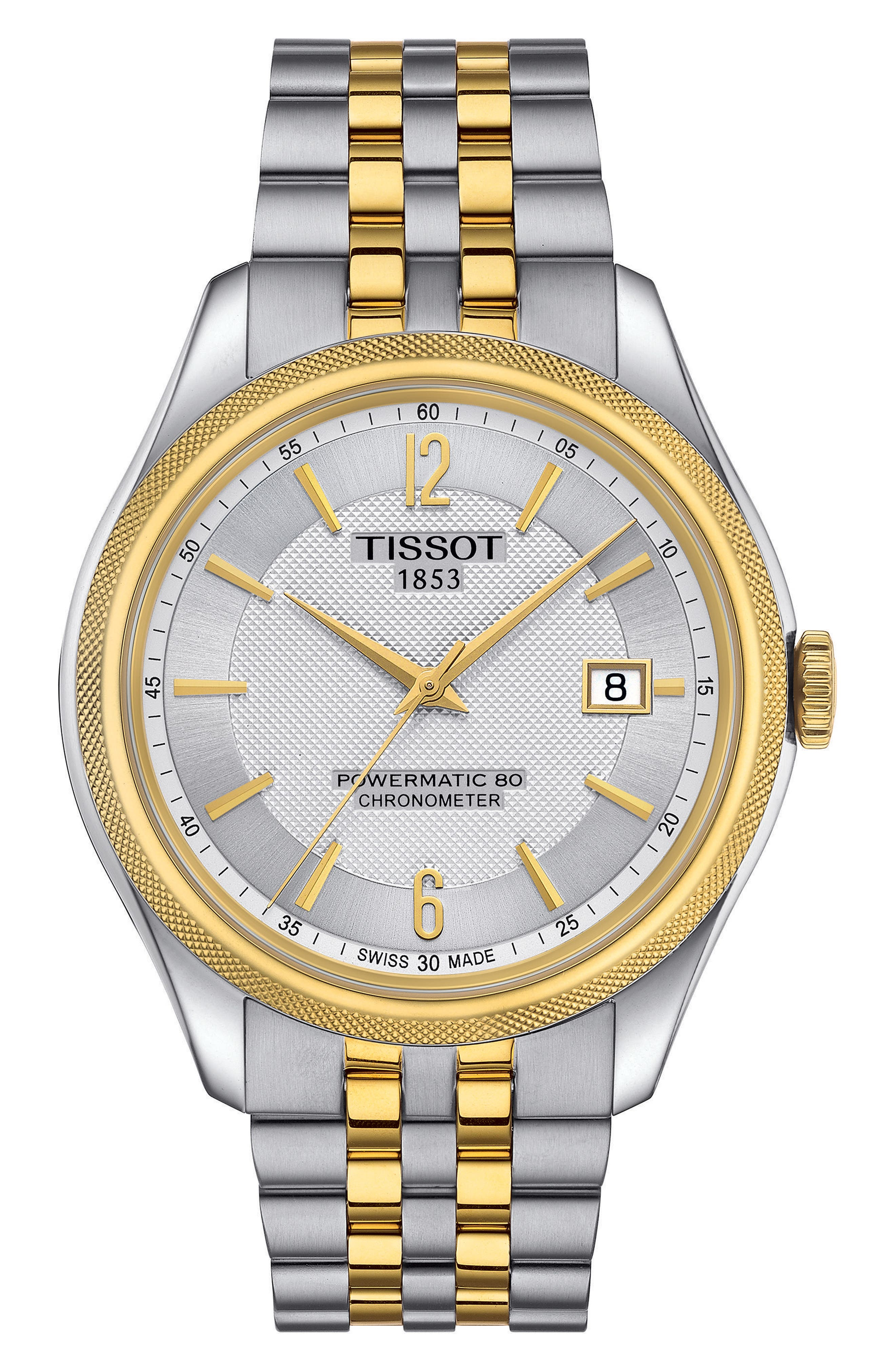 Ballade Powermatic 80 Chronometer Bracelet Watch, 39mm x 41mm,                             Main thumbnail 1, color,                             SILVER/ GOLD