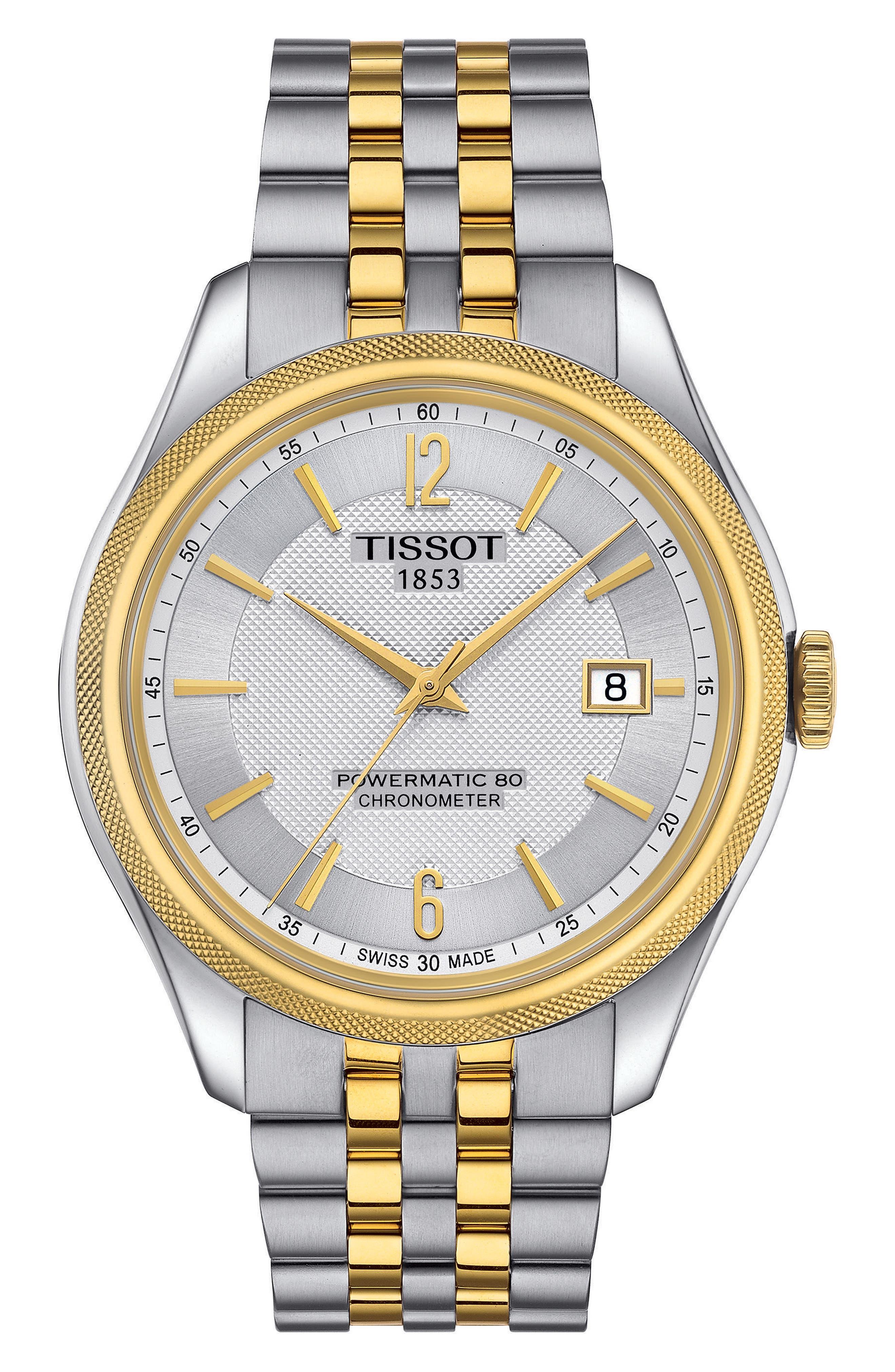 Ballade Powermatic 80 Chronometer Bracelet Watch, 39mm x 41mm,                         Main,                         color, SILVER/ GOLD