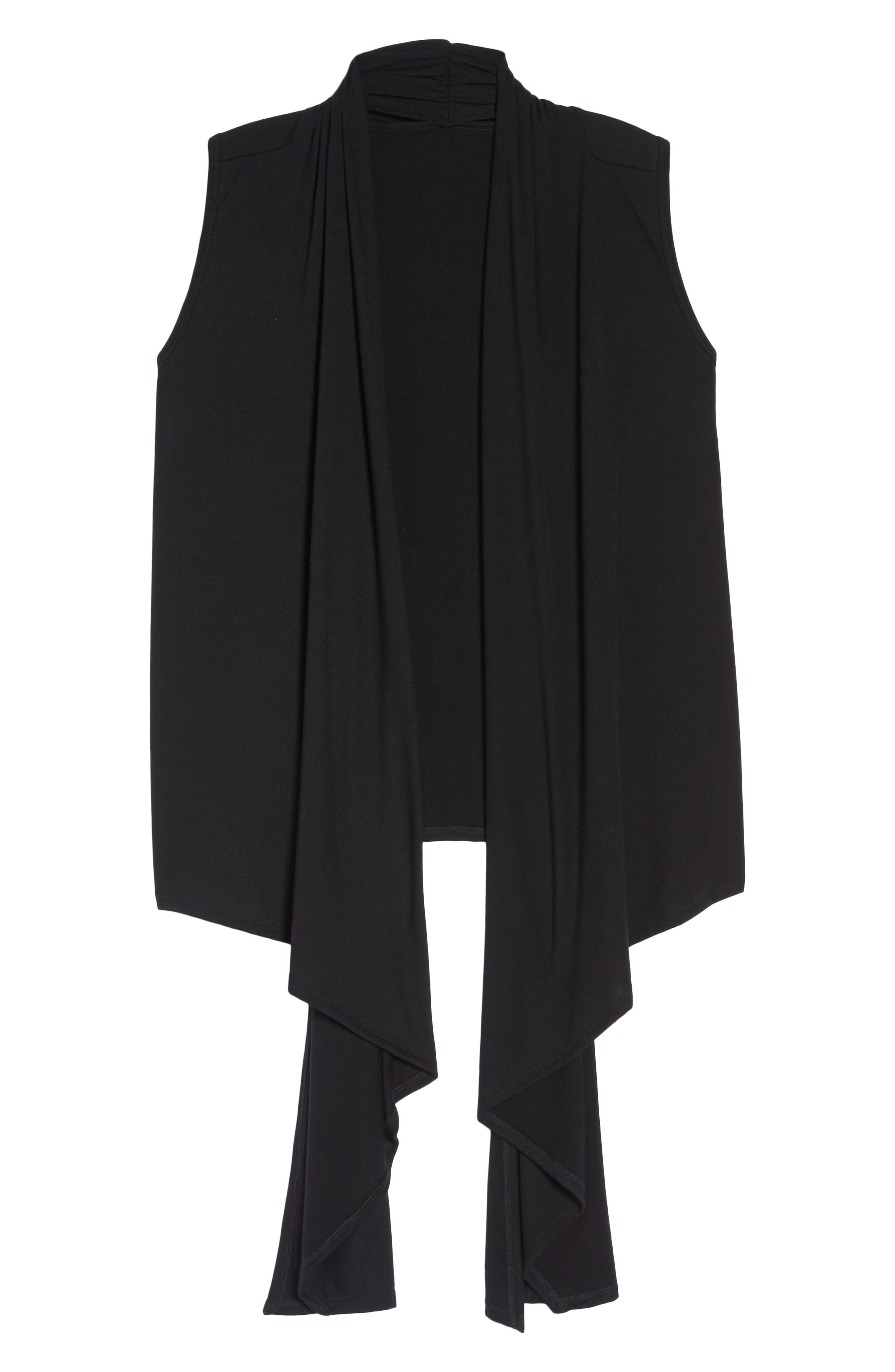 Sleeveless Cardigan,                             Alternate thumbnail 7, color,                             BLACK