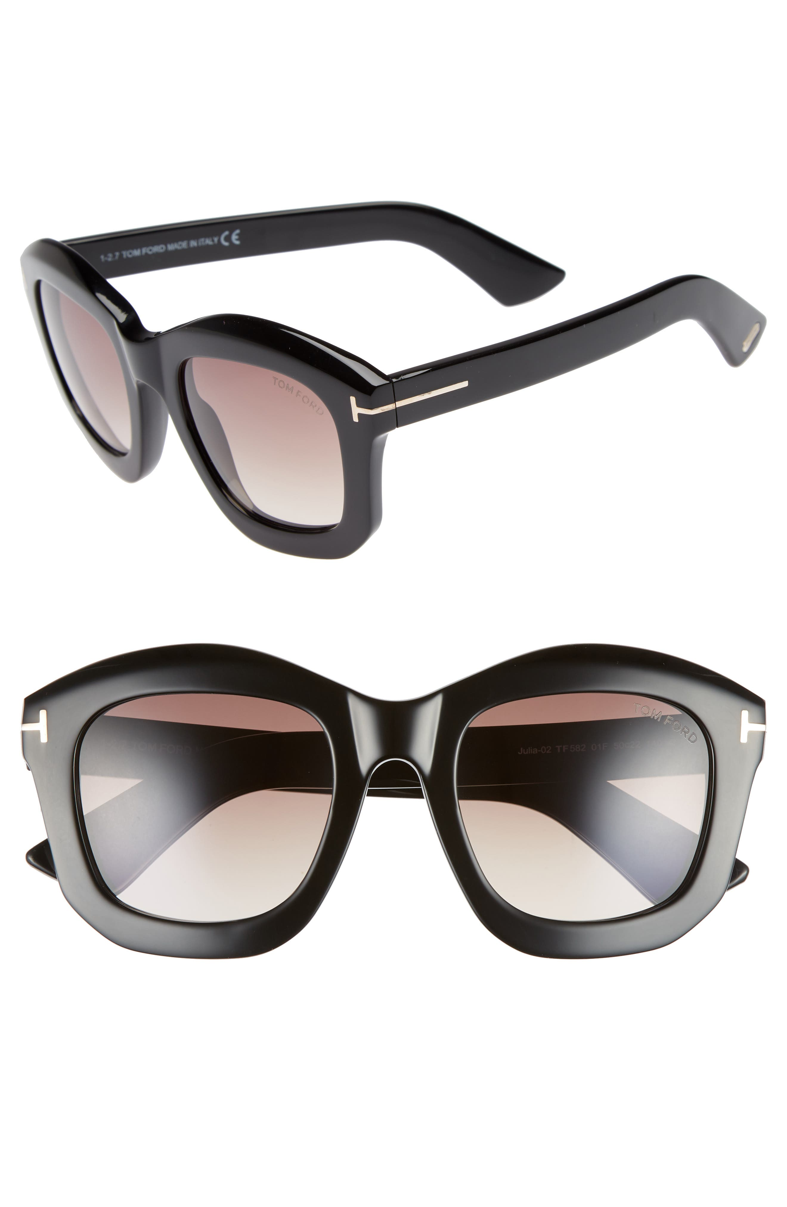 Tom Ford Julia 50Mm Gradient Square Sunglasses - Shiny Black Acetate/ Rose Gold