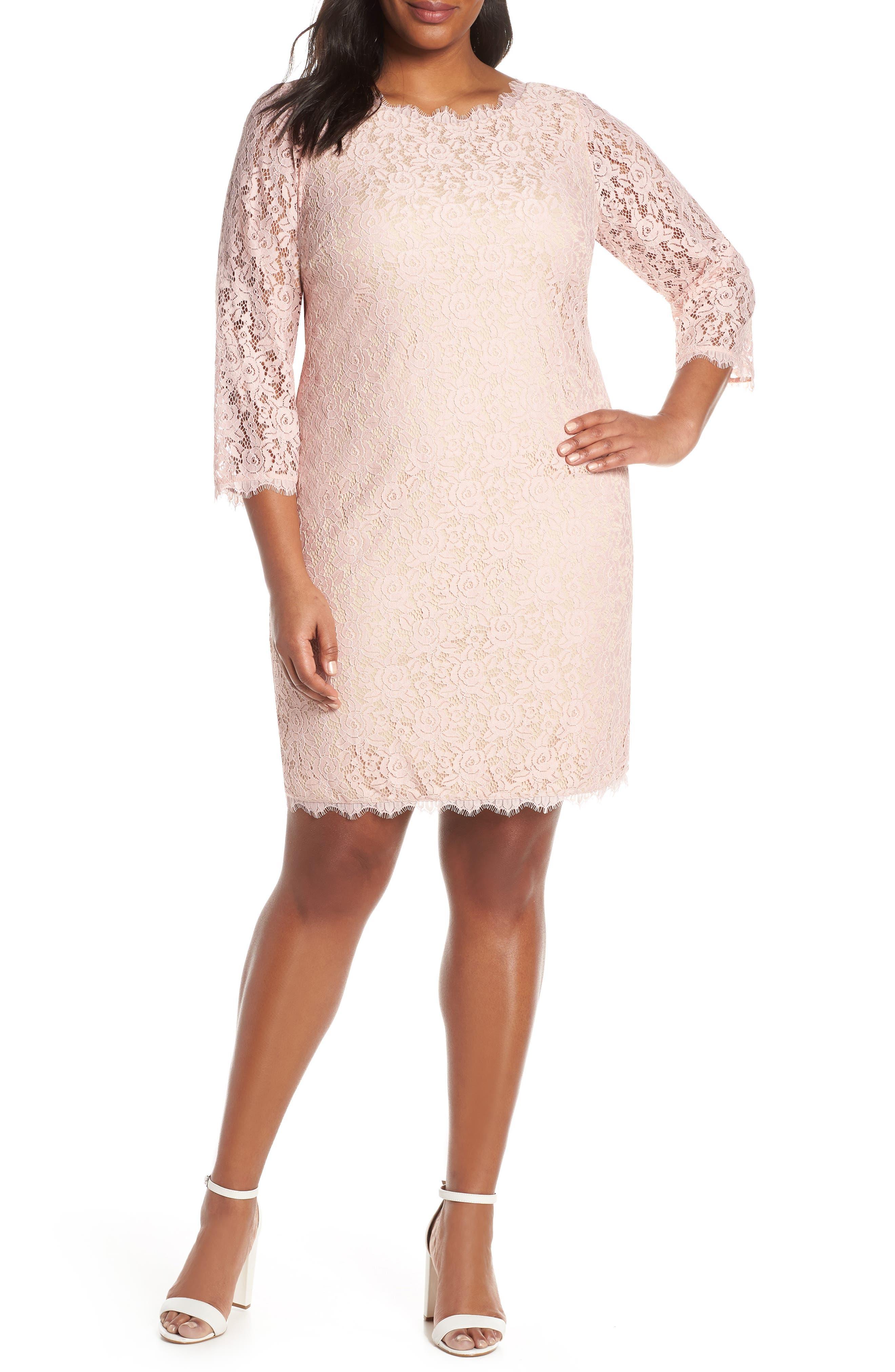 Plus Size Eliza J Lace Cocktail Dress, Pink