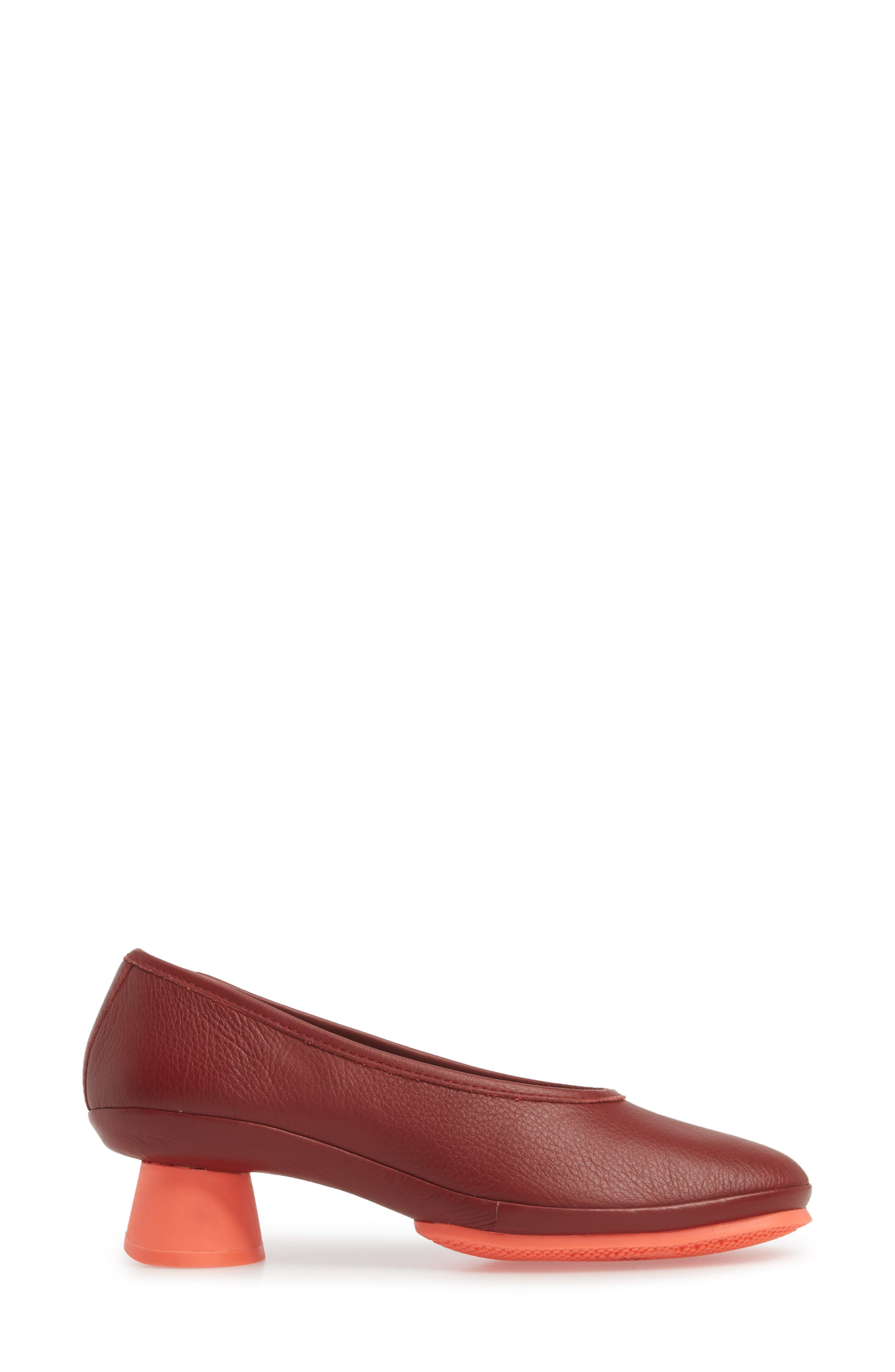 Alright Cone Heel Pump,                             Alternate thumbnail 3, color,                             DARK RED LEATEHR