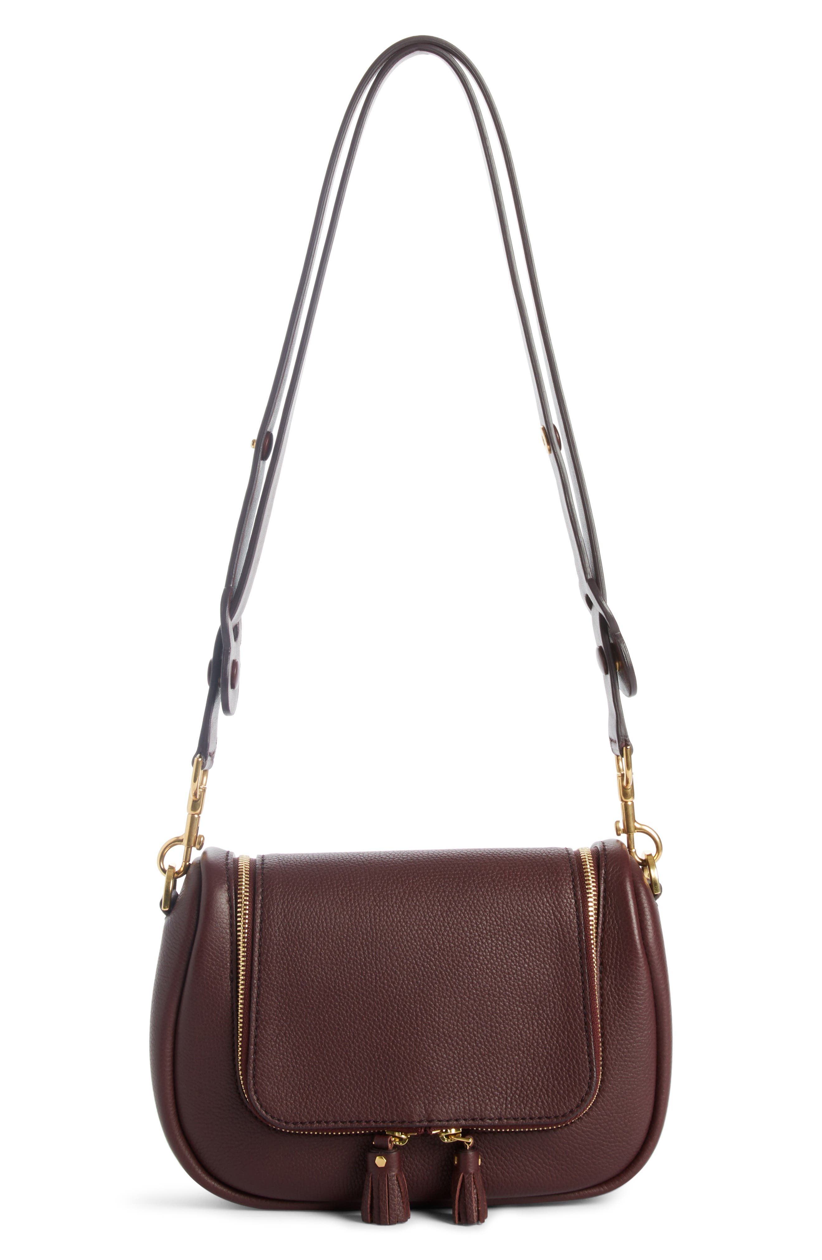 Small Vere Leather Crossbody Satchel,                             Alternate thumbnail 7, color,                             CLARET