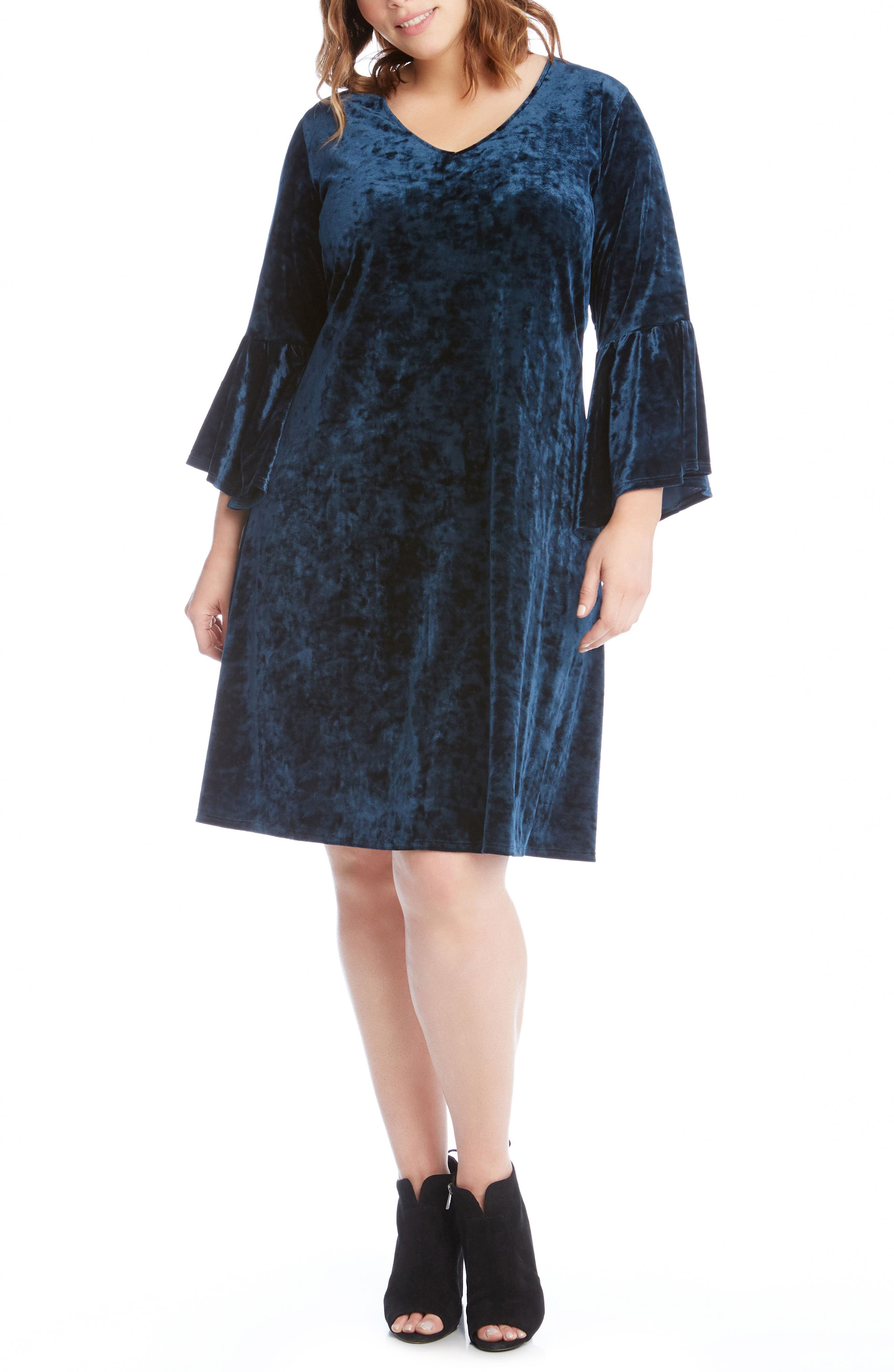 Bell Sleeve Velvet Dress,                             Alternate thumbnail 3, color,                             TEAL