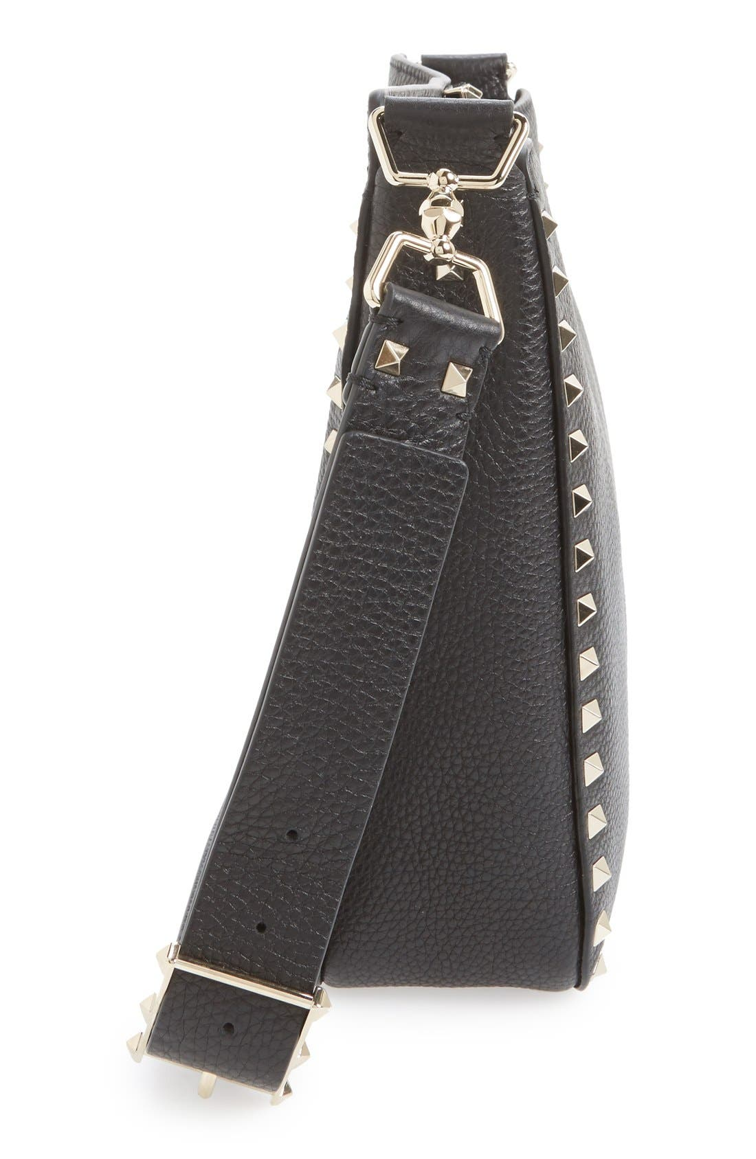 Vitello Rockstud Hobo,                             Alternate thumbnail 7, color,                             NERO