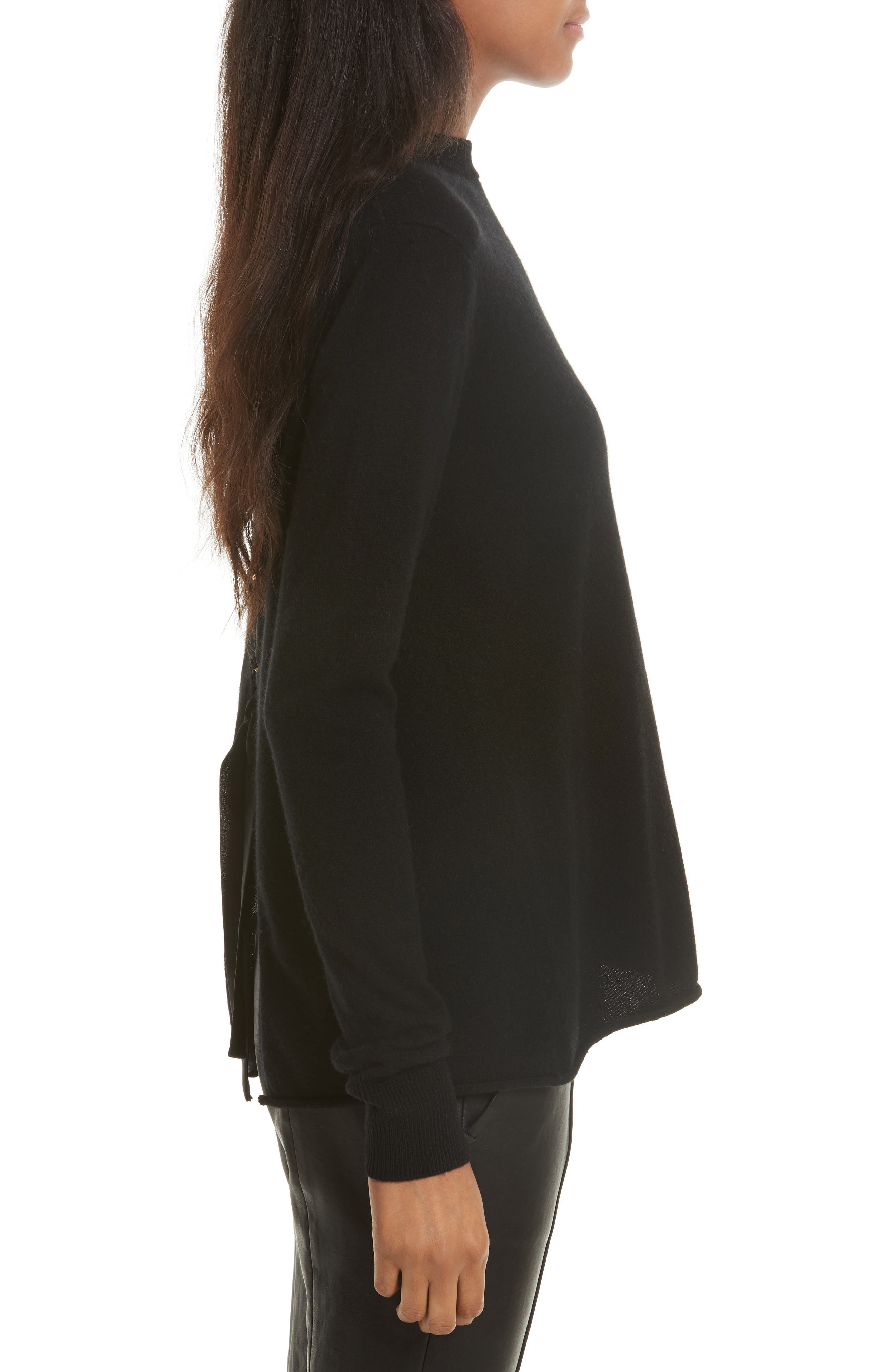 Valerie Lace-Up Wool & Cashmere Sweater,                             Alternate thumbnail 3, color,                             001