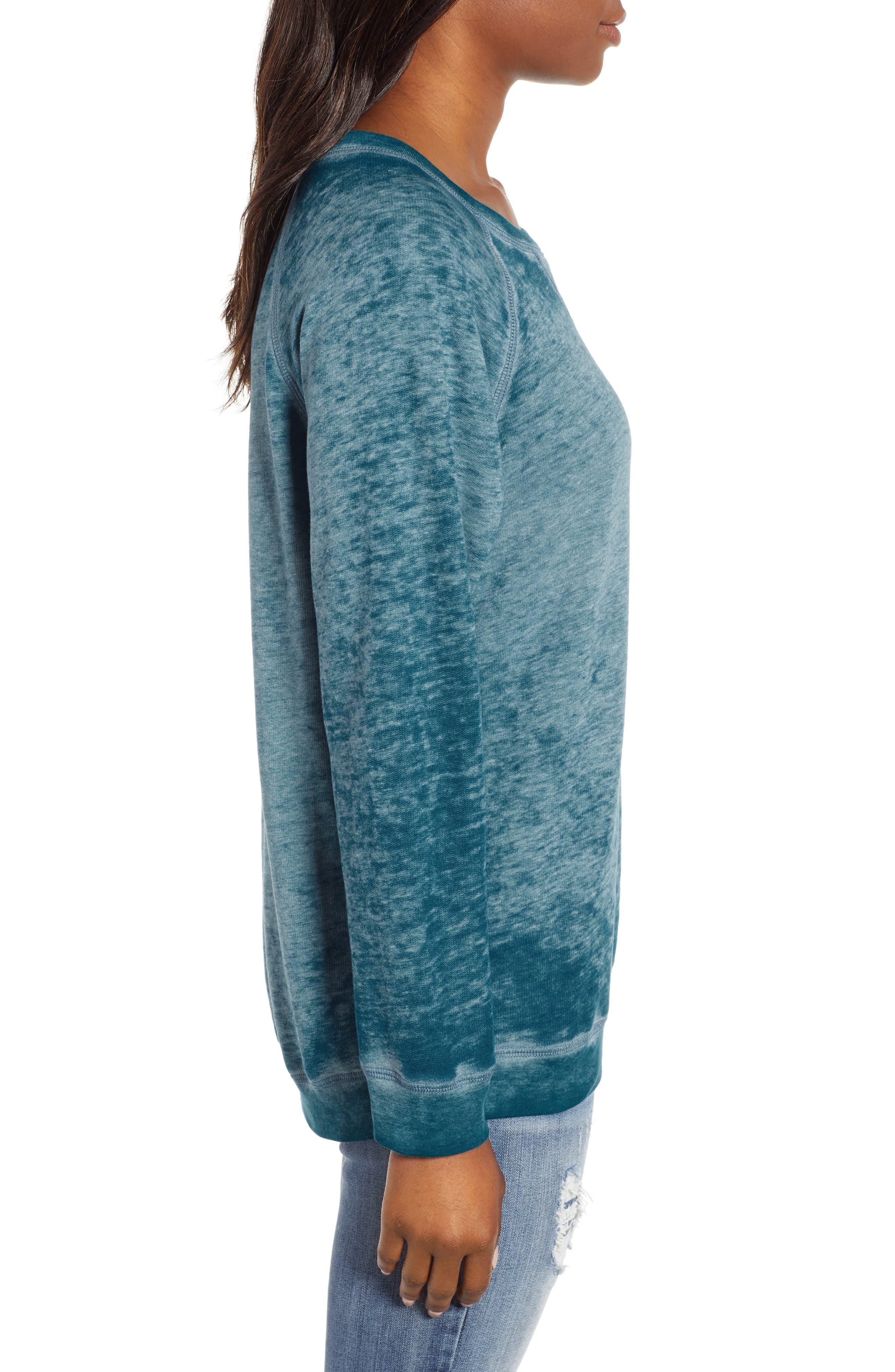 Burnout Sweatshirt,                             Alternate thumbnail 3, color,                             TEAL CORAL