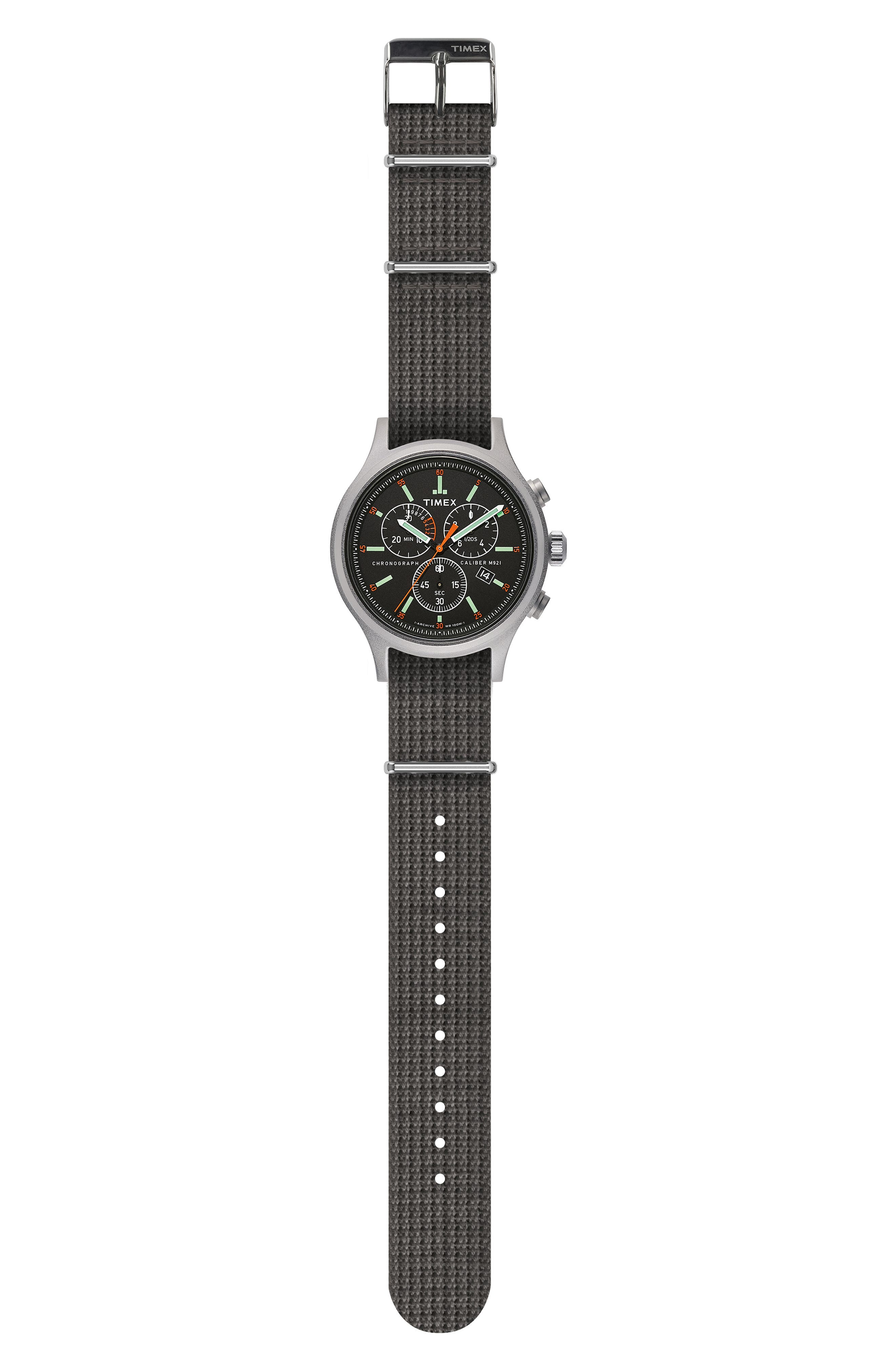 Timex<sup>®</sup> Allied Chronograph Woven Strap Watch, 41mm,                             Alternate thumbnail 2, color,                             SILVER/ BLACK/ GREY
