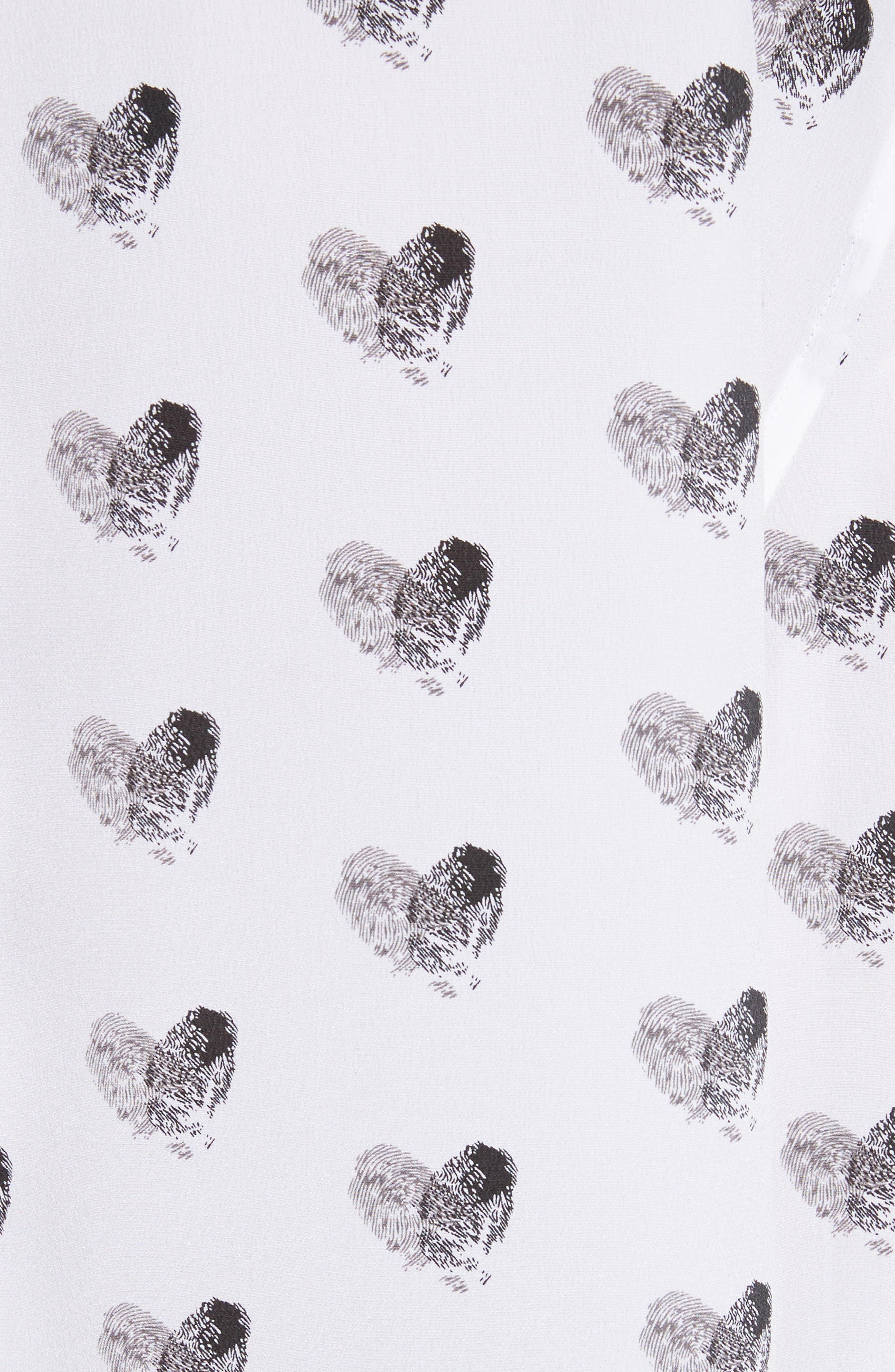 Signature Heart Print Silk Shirt,                             Alternate thumbnail 5, color,                             111