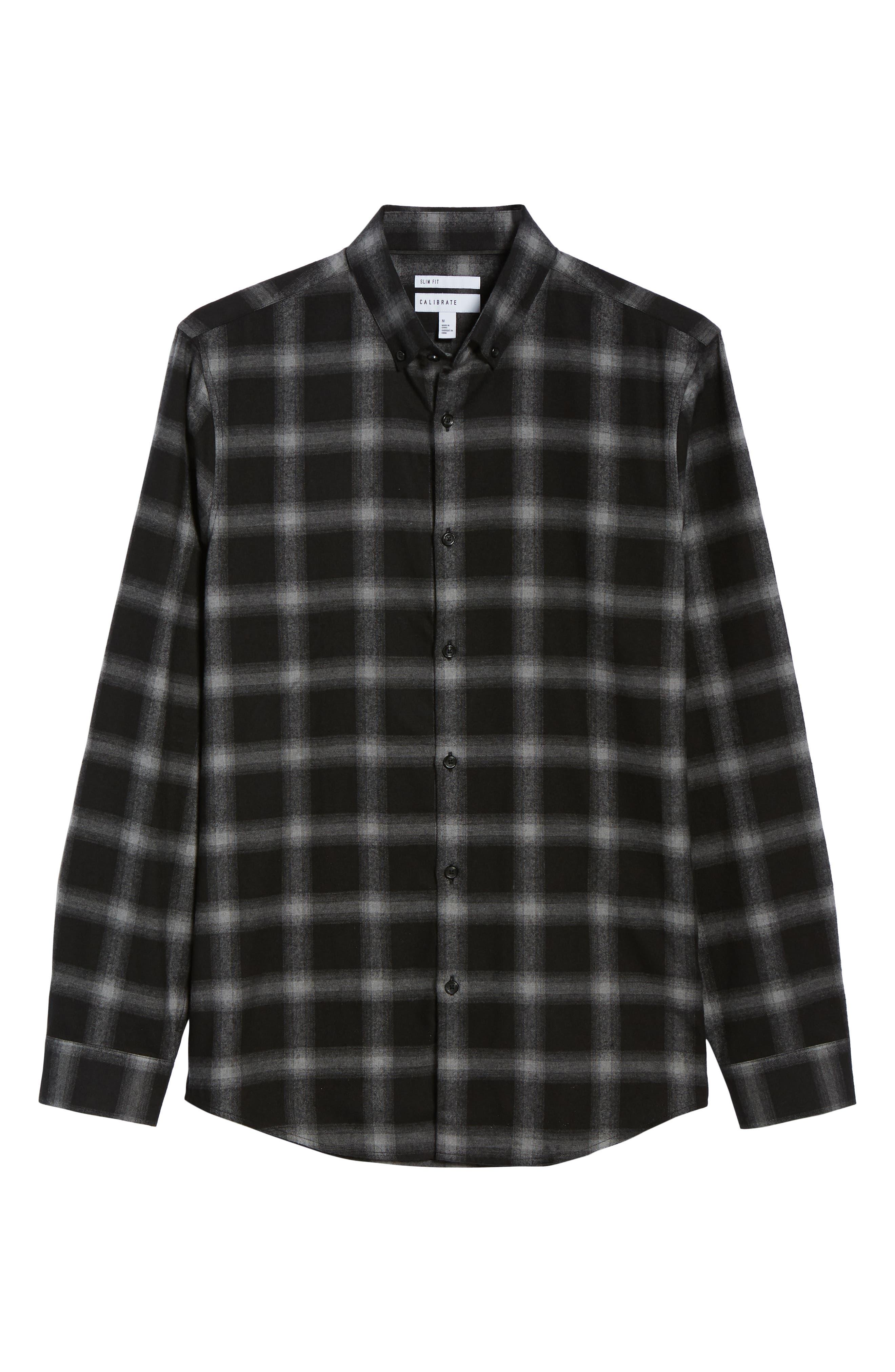 Slim Fit Mini Collar Plaid Flannel Sport Shirt,                             Alternate thumbnail 6, color,                             GREY BLACK SHADOW PLAID