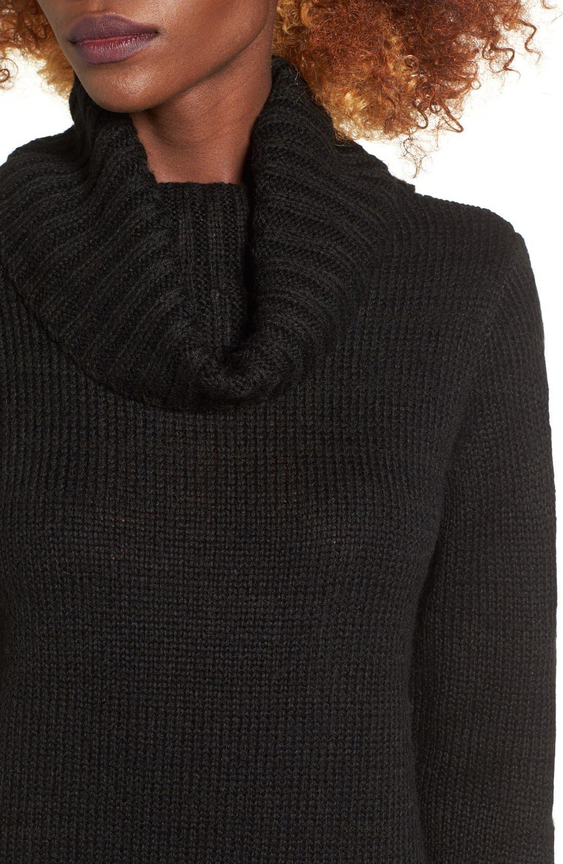 Turtleneck Sweater Dress,                             Alternate thumbnail 4, color,                             001