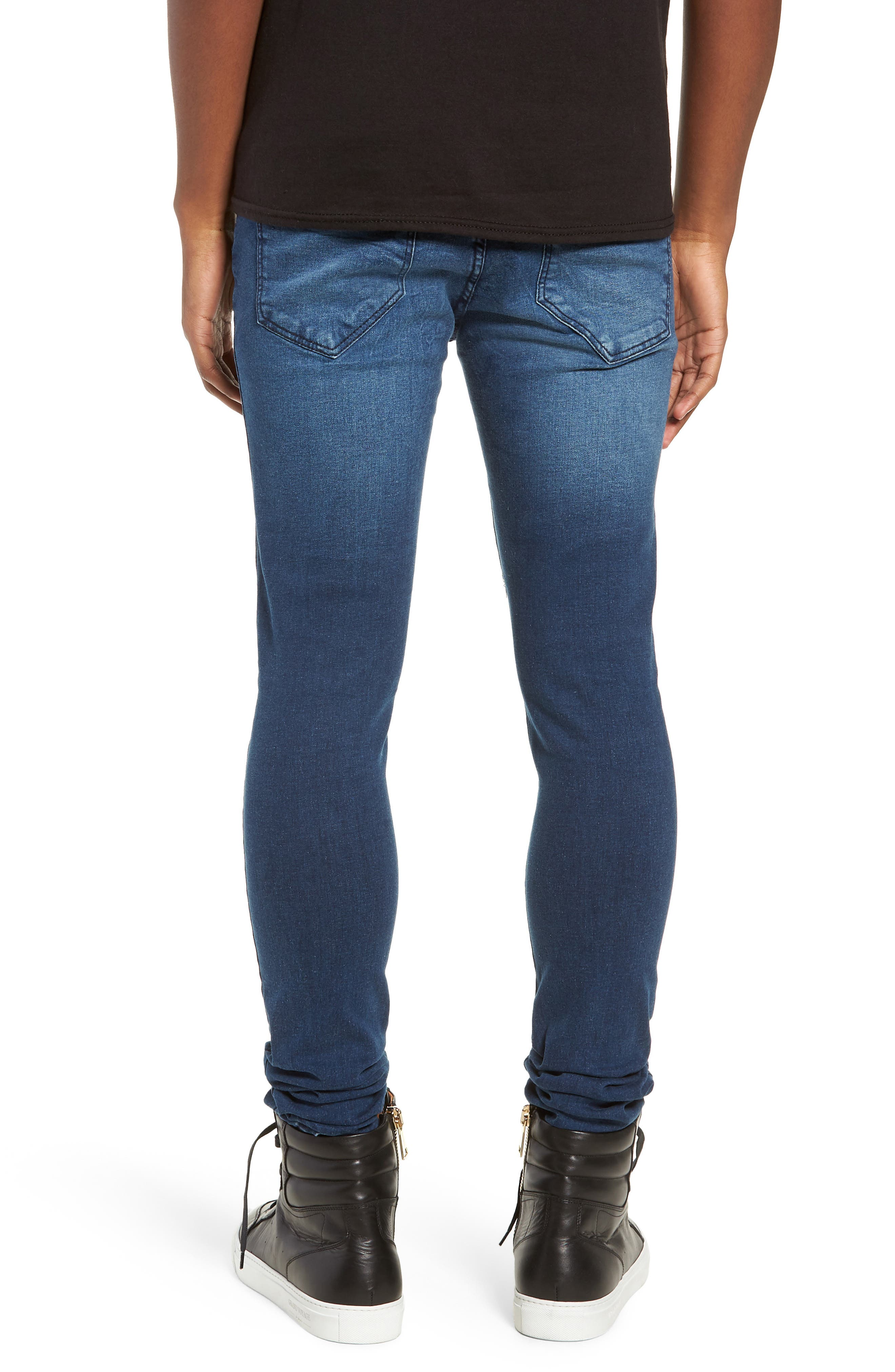 Leroy Skinny Fit Jeans,                             Alternate thumbnail 2, color,                             WORN DARK BLUE