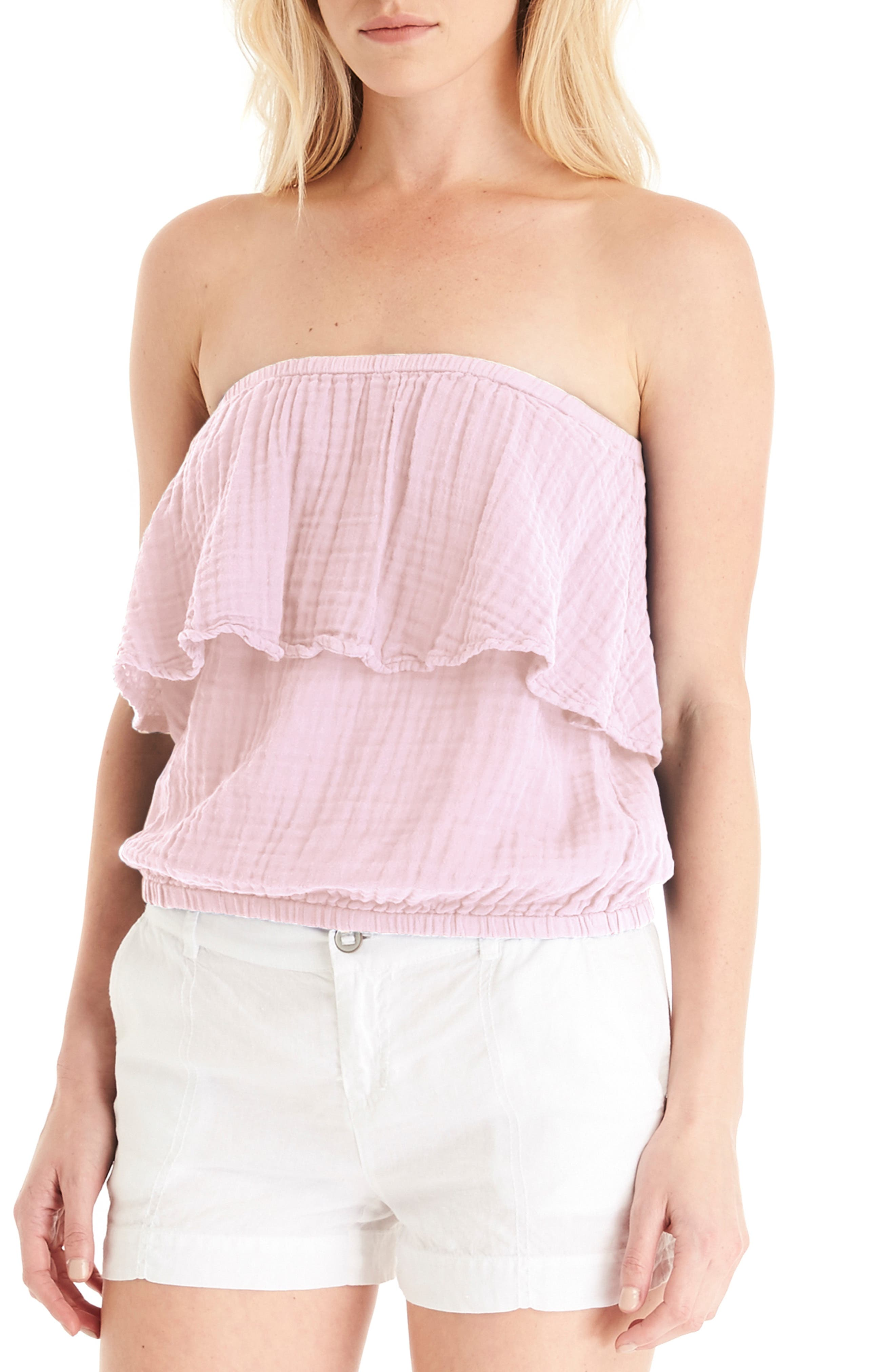 Ruffle Tube Top,                         Main,                         color, TICKLE