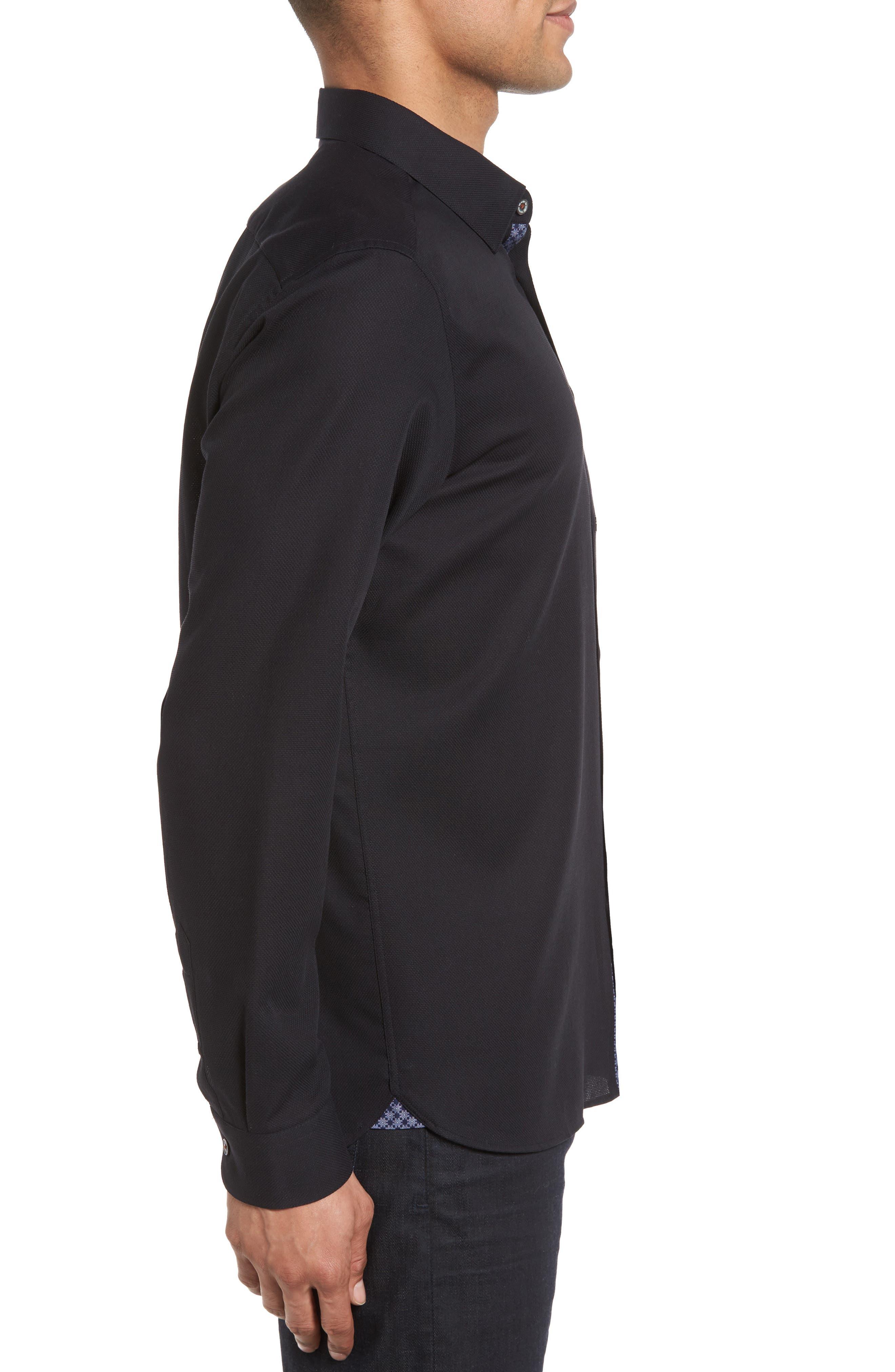 Nordlux Modern Slim Fit Stretch Cotton Sport Shirt,                             Alternate thumbnail 3, color,                             001