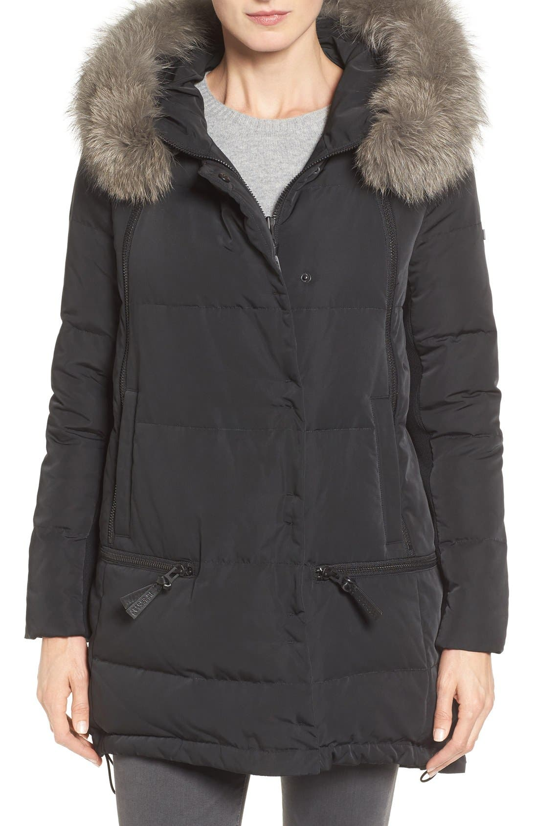 Relaxed Water Resistant Down Parka with Genuine Fox Fur Trim,                             Main thumbnail 2, color,