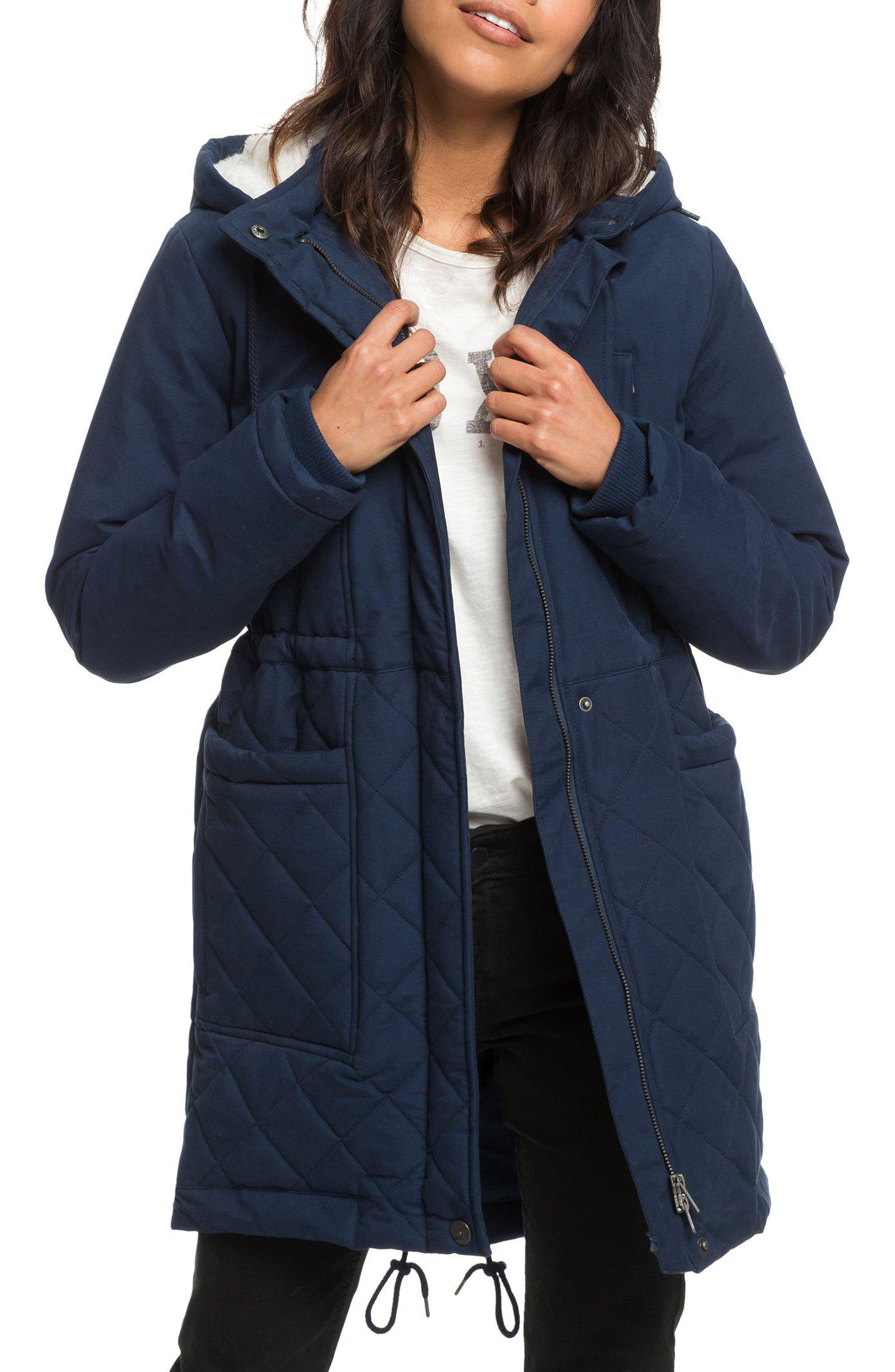 Slalom Chic Faux Shearling Trim Waterproof Parka,                         Main,                         color, DRESS BLUES