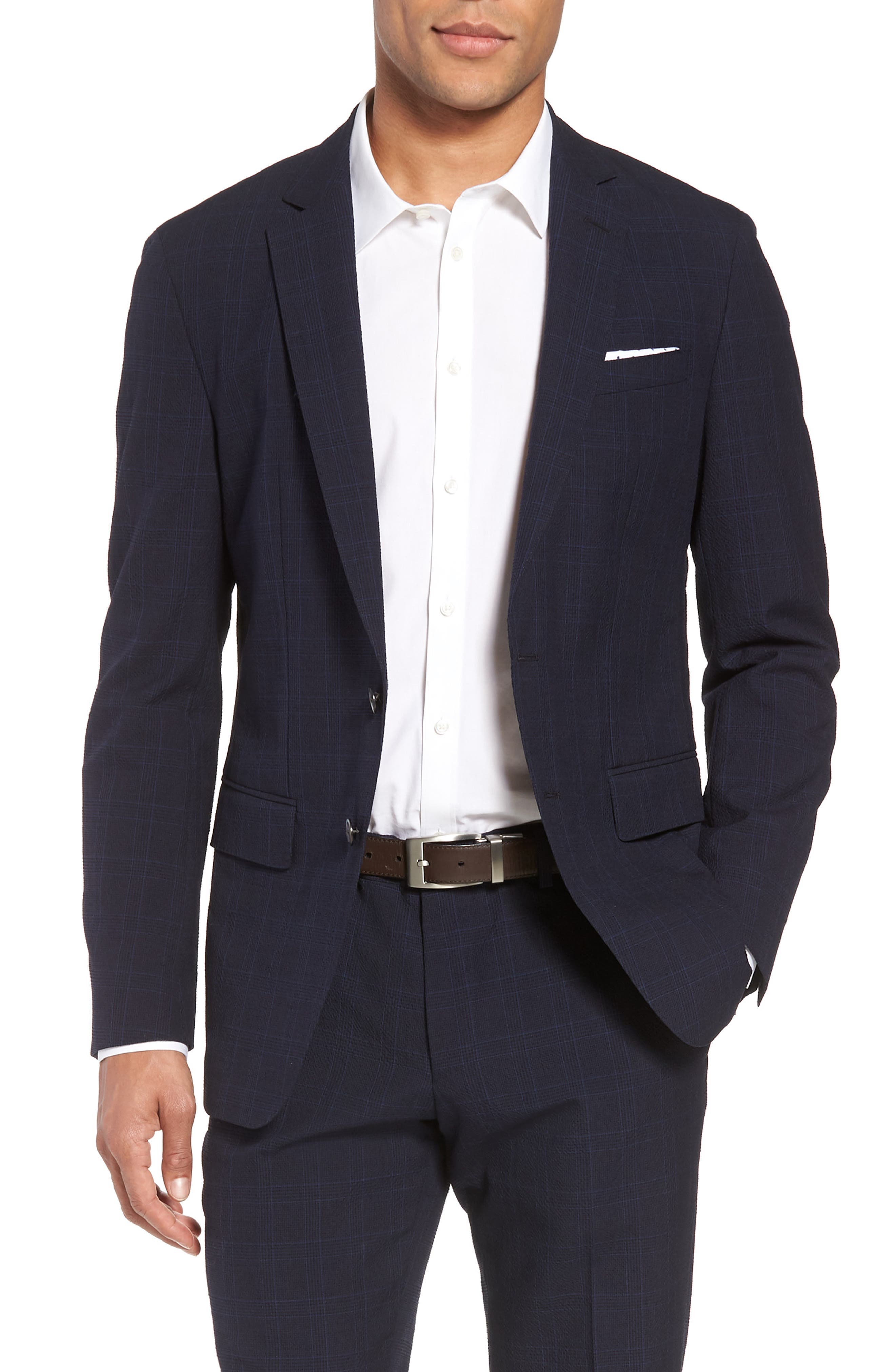 Helford/Gander Trim Fit Plaid Wool & Cotton Suit,                             Alternate thumbnail 5, color,
