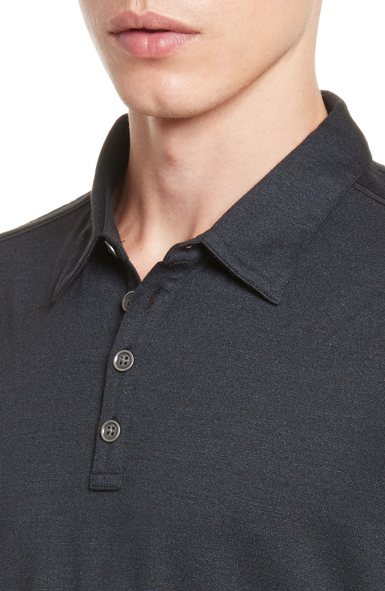 Hampton Silk & Cotton Polo,                             Alternate thumbnail 4, color,                             BLACK