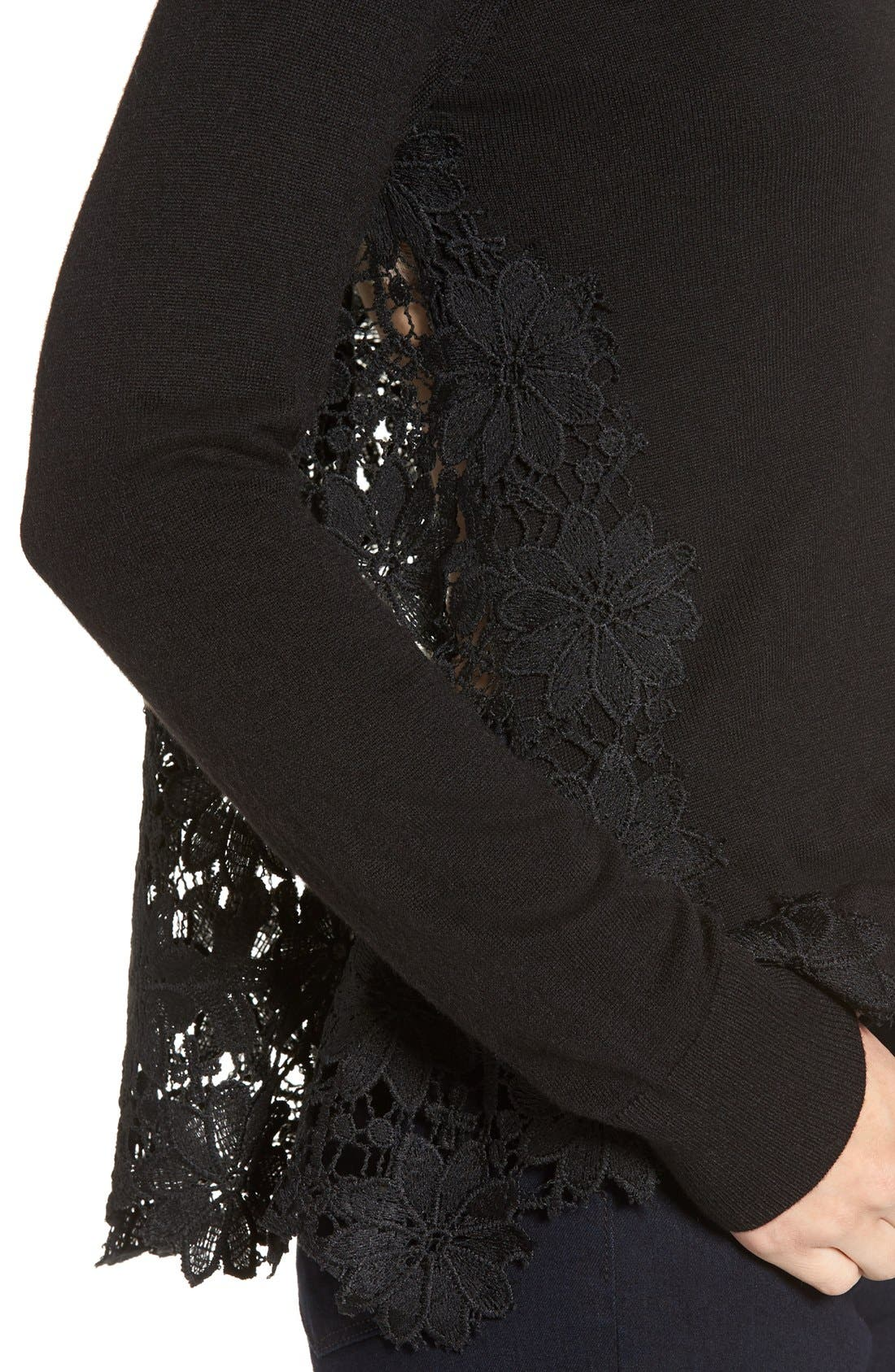 Lace Back Sweater,                             Alternate thumbnail 10, color,                             001