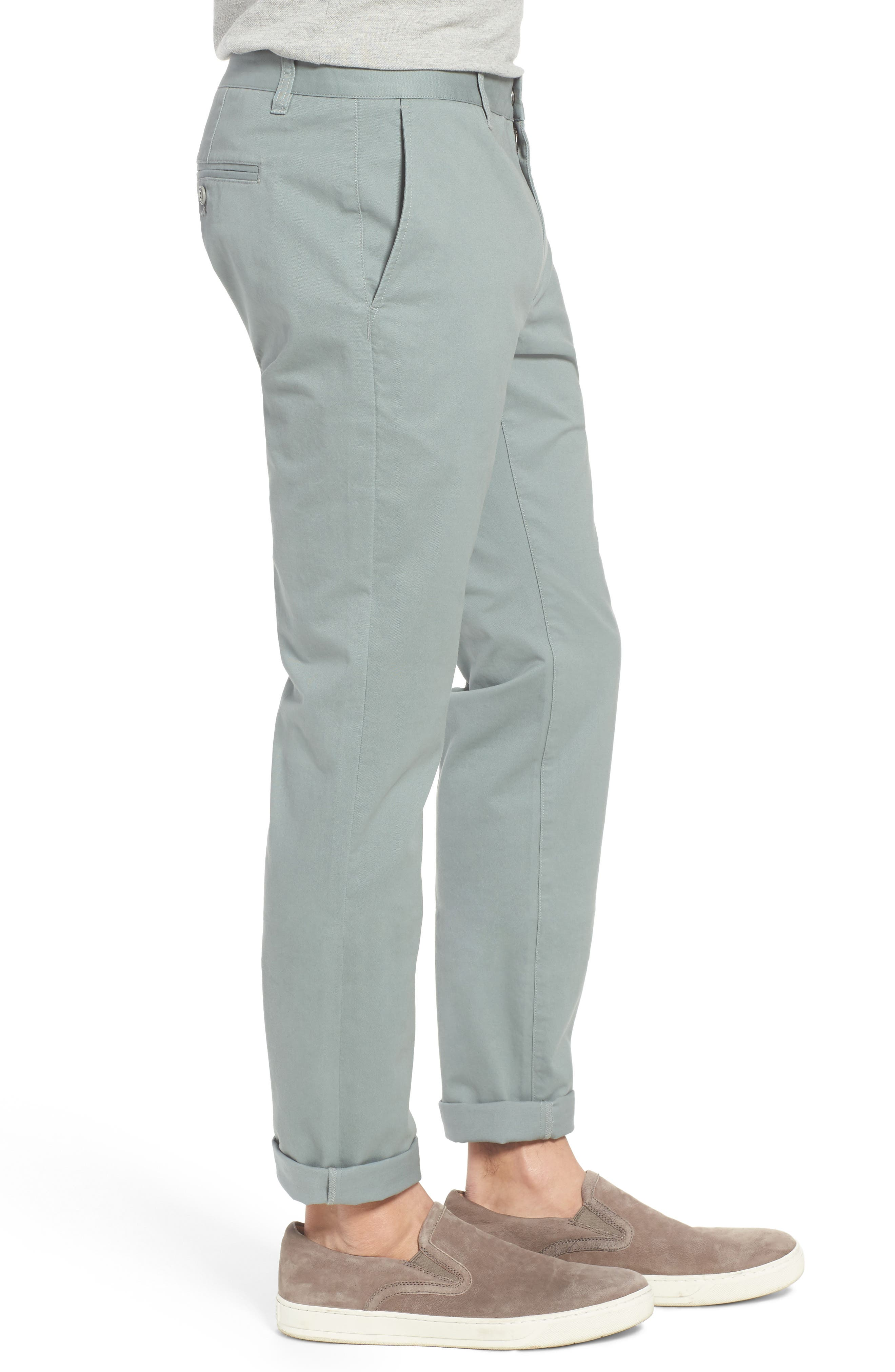 Tailored Fit Washed Stretch Cotton Chinos,                             Alternate thumbnail 100, color,