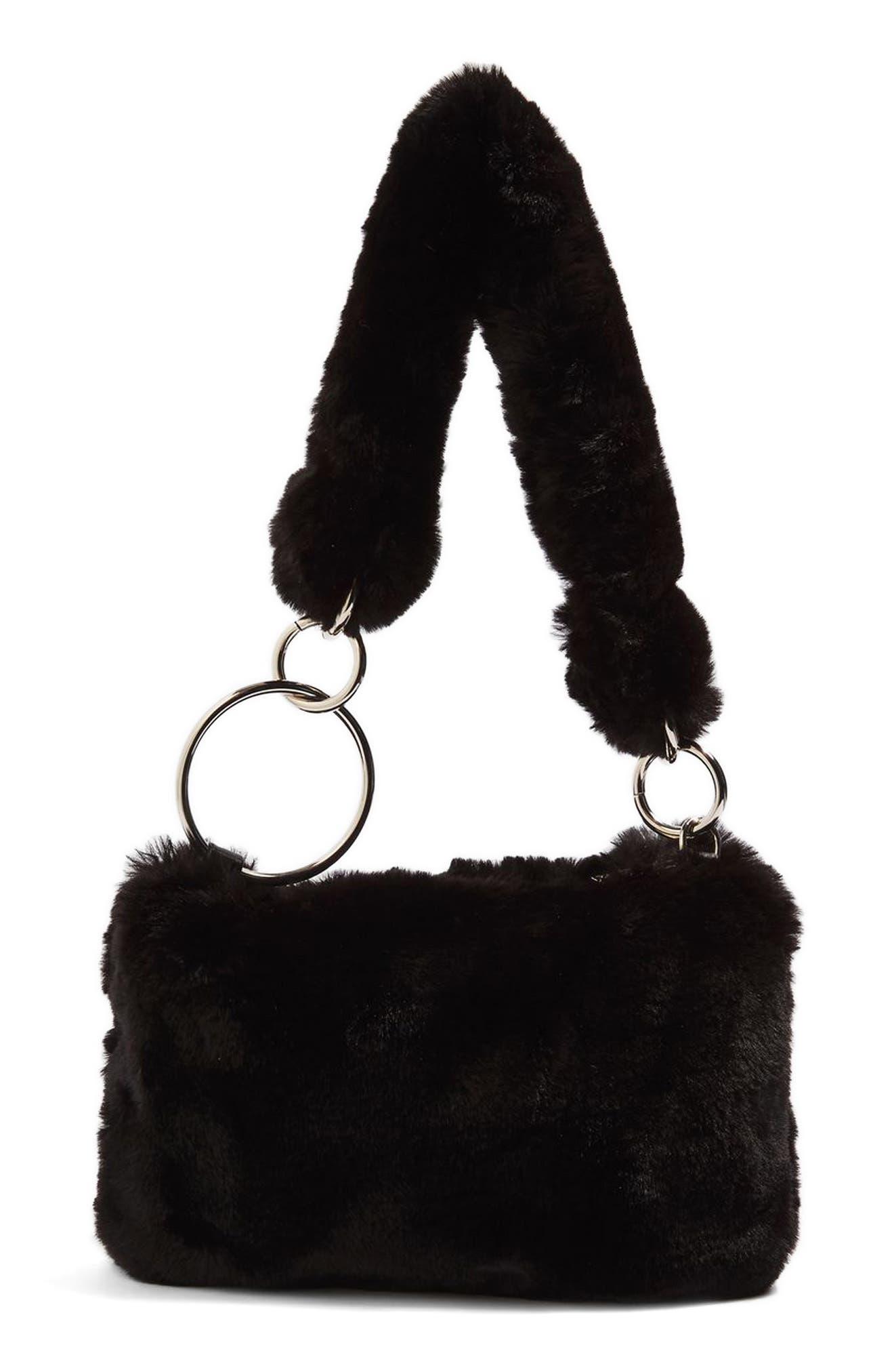 Teddy Faux Fur Shoulder Bag,                         Main,                         color, 001
