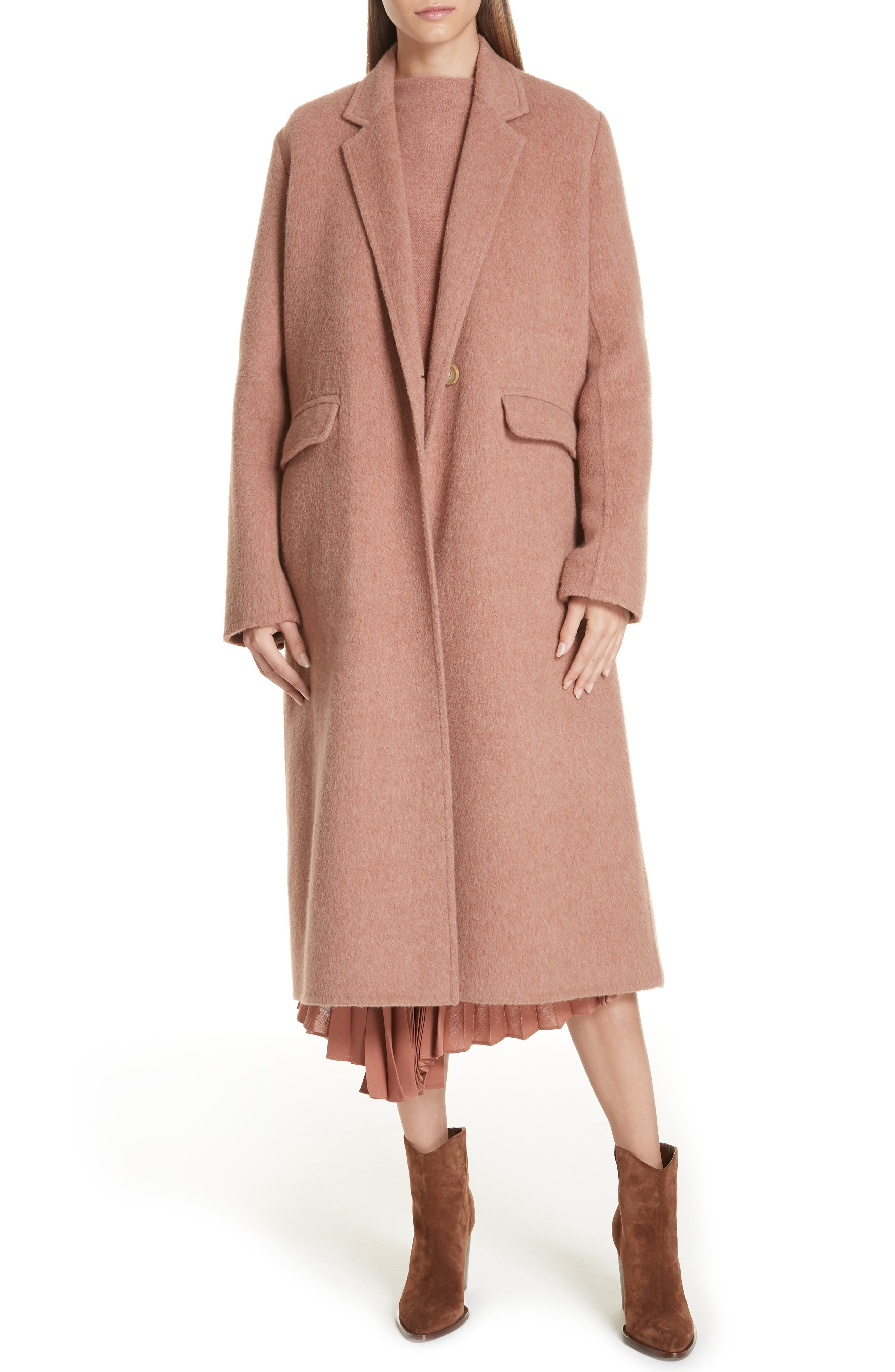 Long Wool Alpaca Blend Coat,                         Main,                         color, VINTAGE ROSE