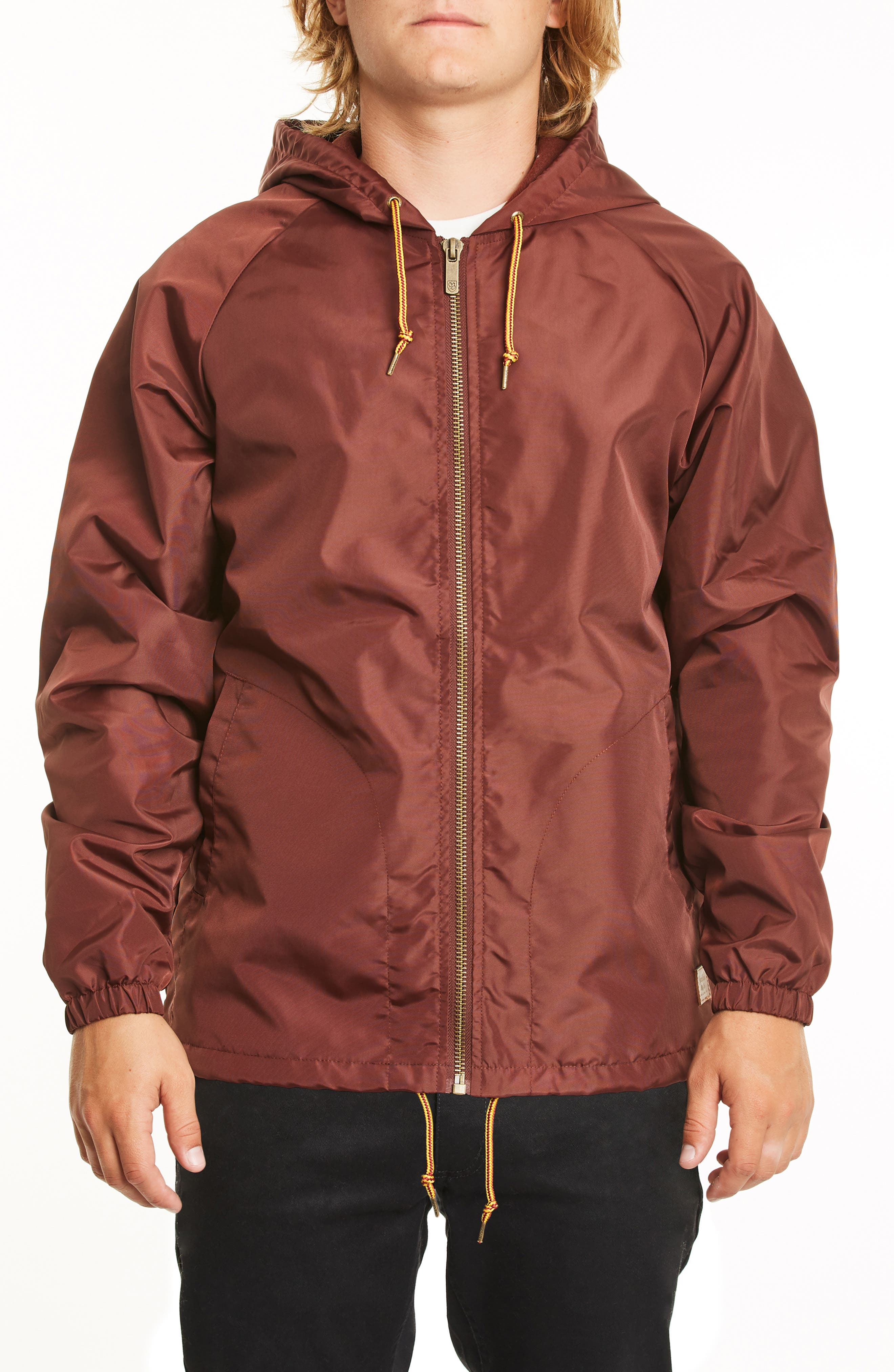 Claxton Water Repellent Hooded Windbreaker,                         Main,                         color, CHESTNUT