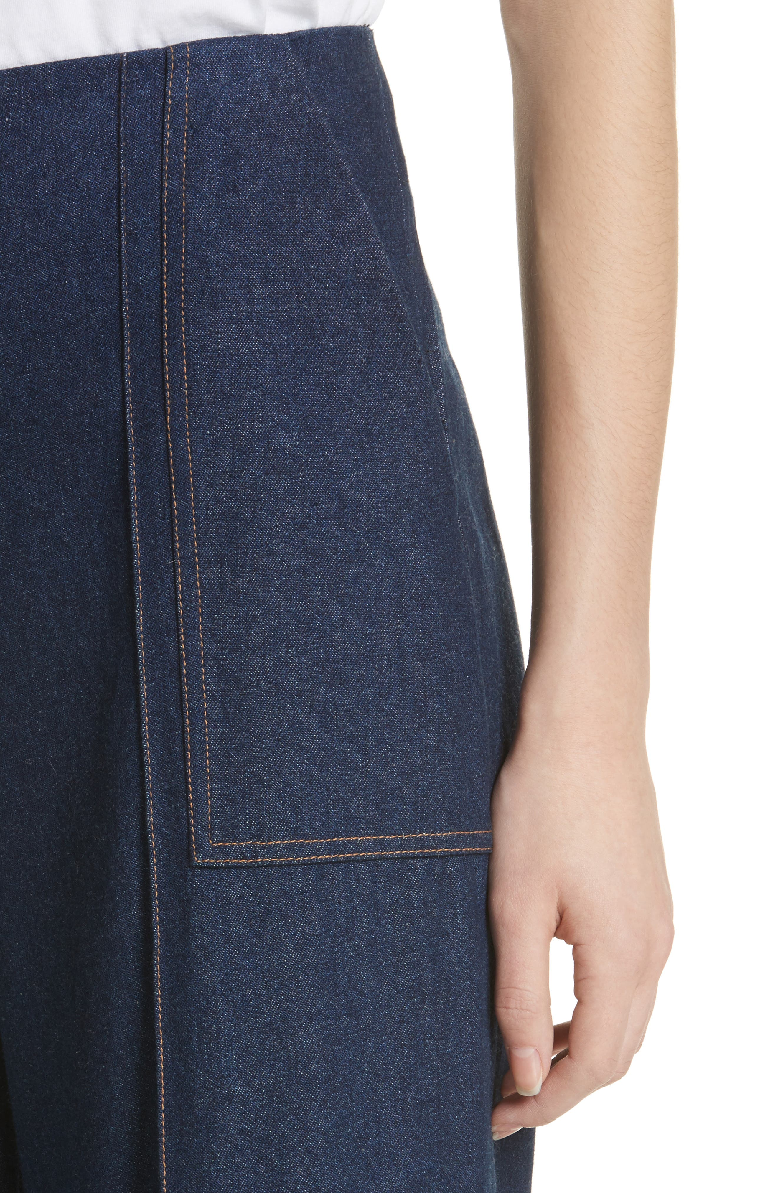 Dune Imitation Pearl Trim Wide Leg Crop Jeans,                             Alternate thumbnail 4, color,                             400