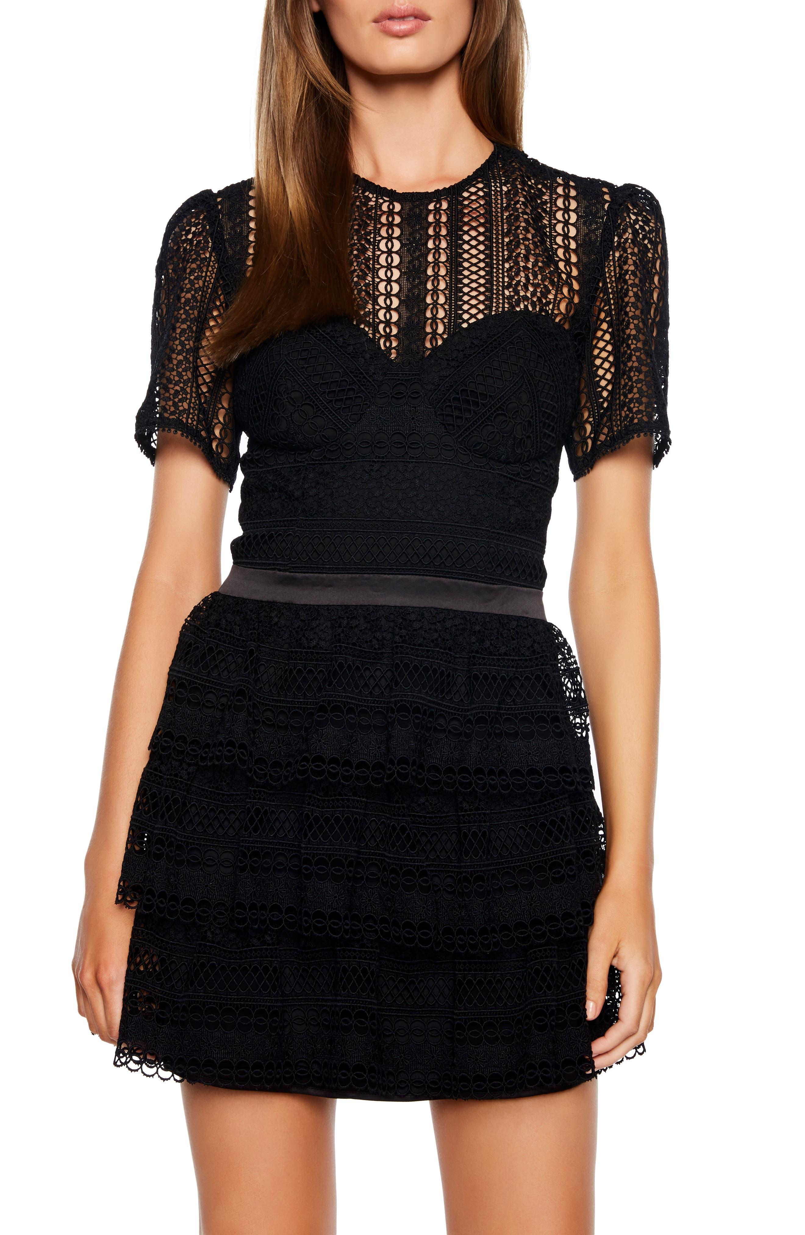 Bardot Ava Lace Minidress, Black