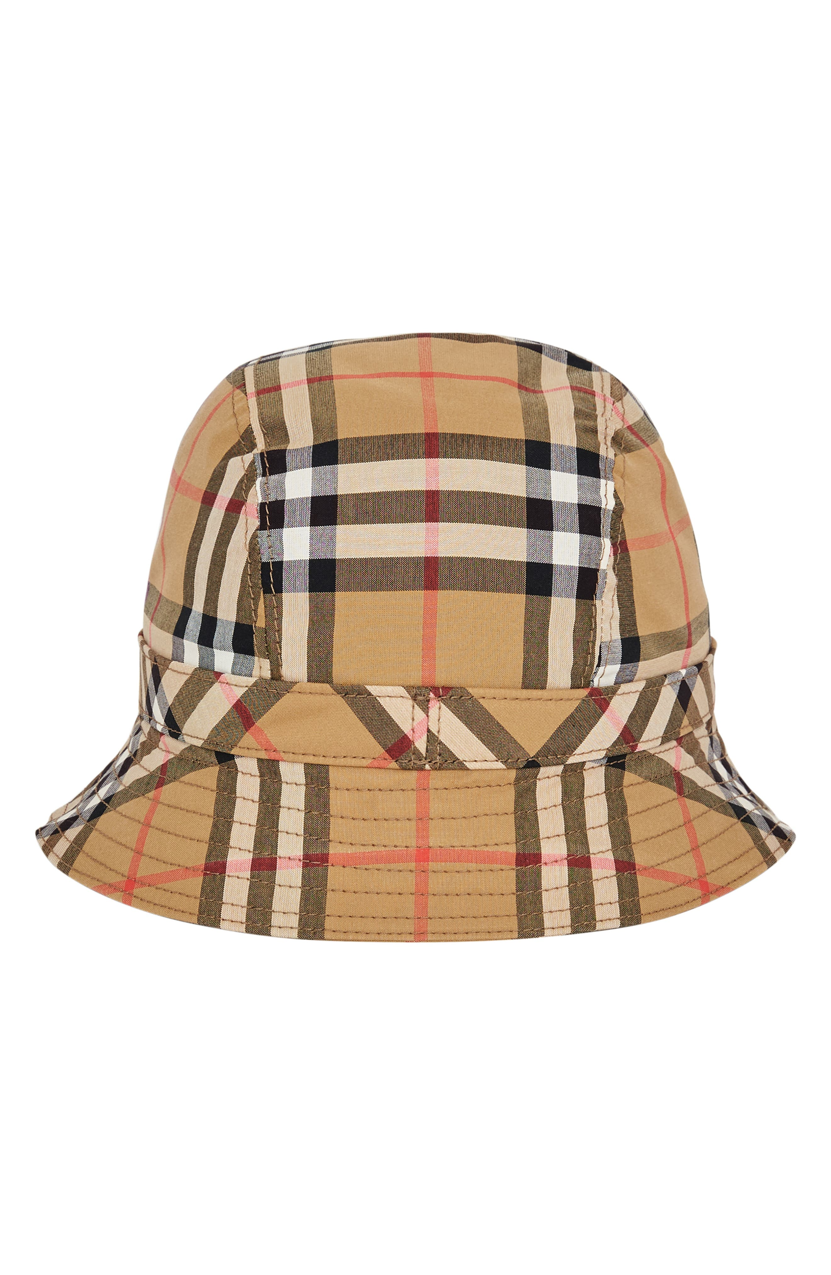 Rainbow Stripe Vintage Check Bucket Hat,                             Alternate thumbnail 3, color,                             ANTIQUE YELLOW/ RAINBOW