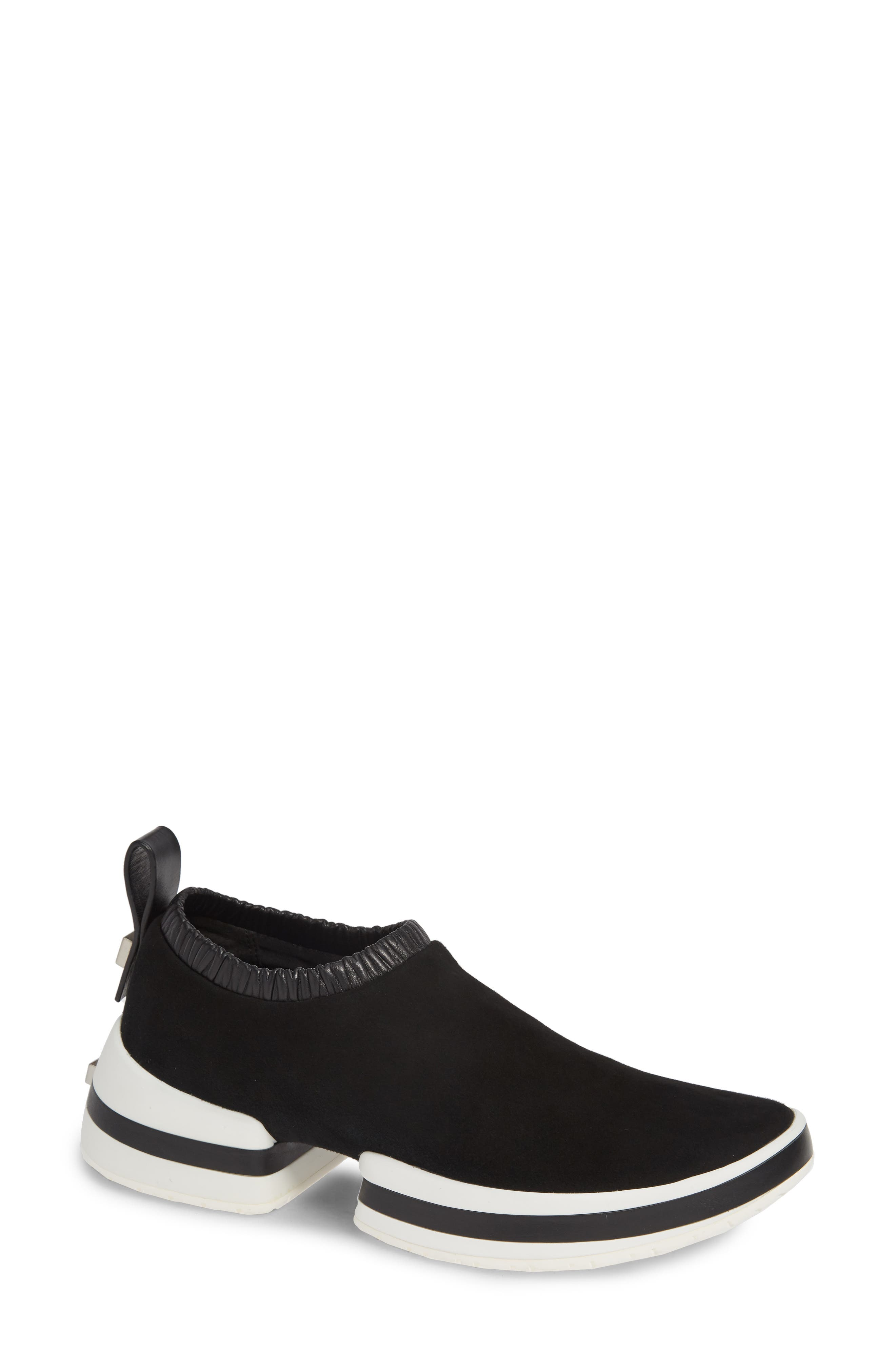 Sw-612 Suede/Leather Slip-On Sneakers in Black Suede