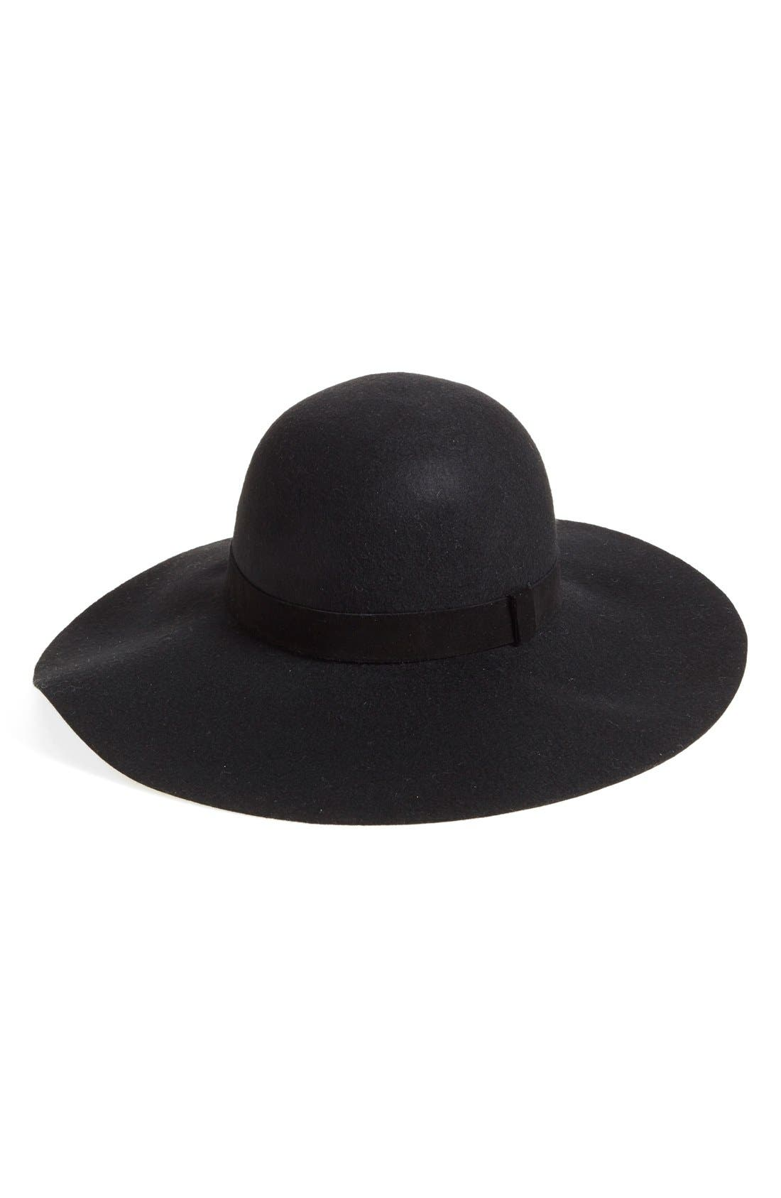 Suede Trim Floppy Wool Hat,                         Main,                         color, 001