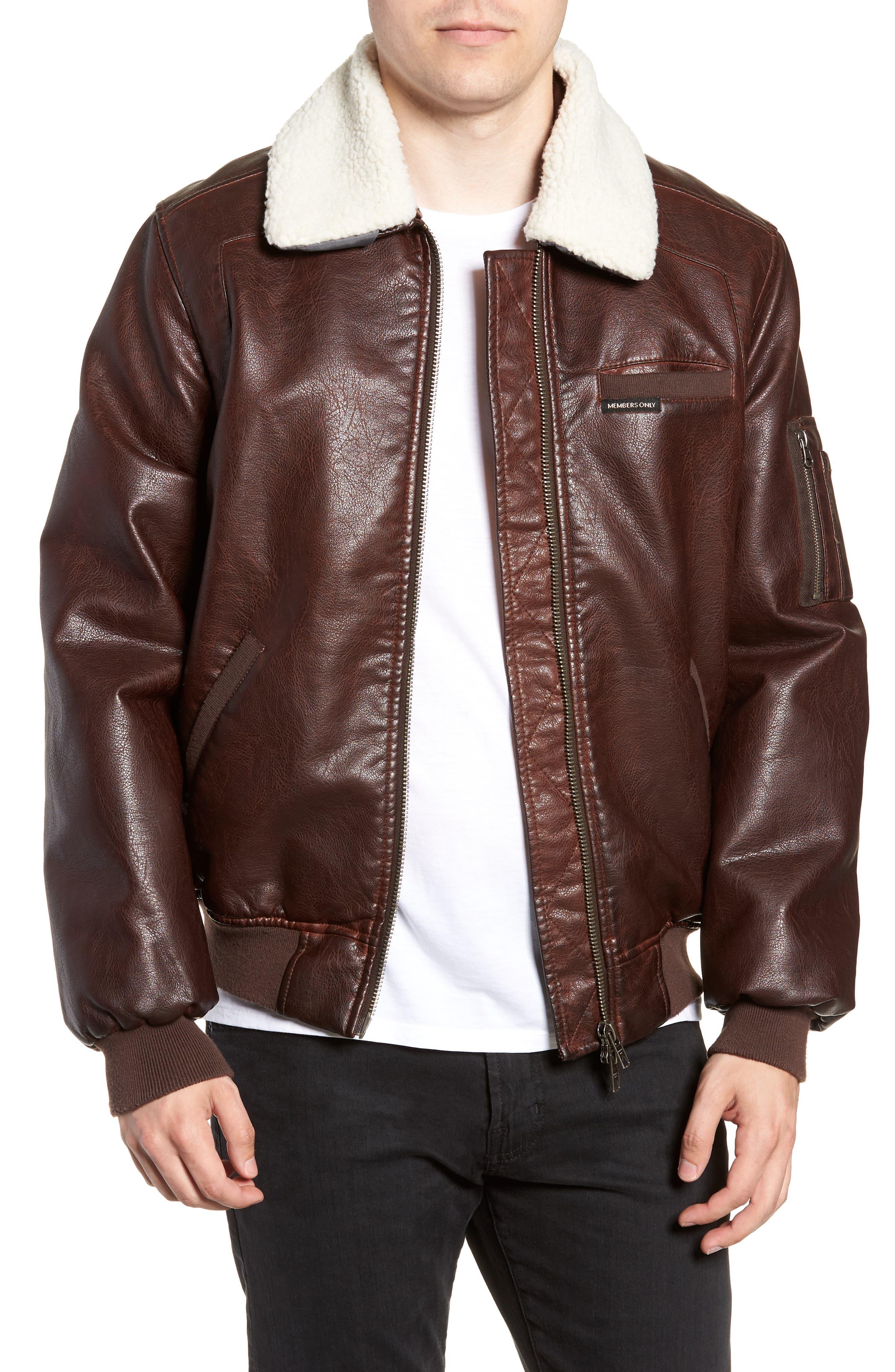 Vintage Flight Jacket,                         Main,                         color, DARK BROWN