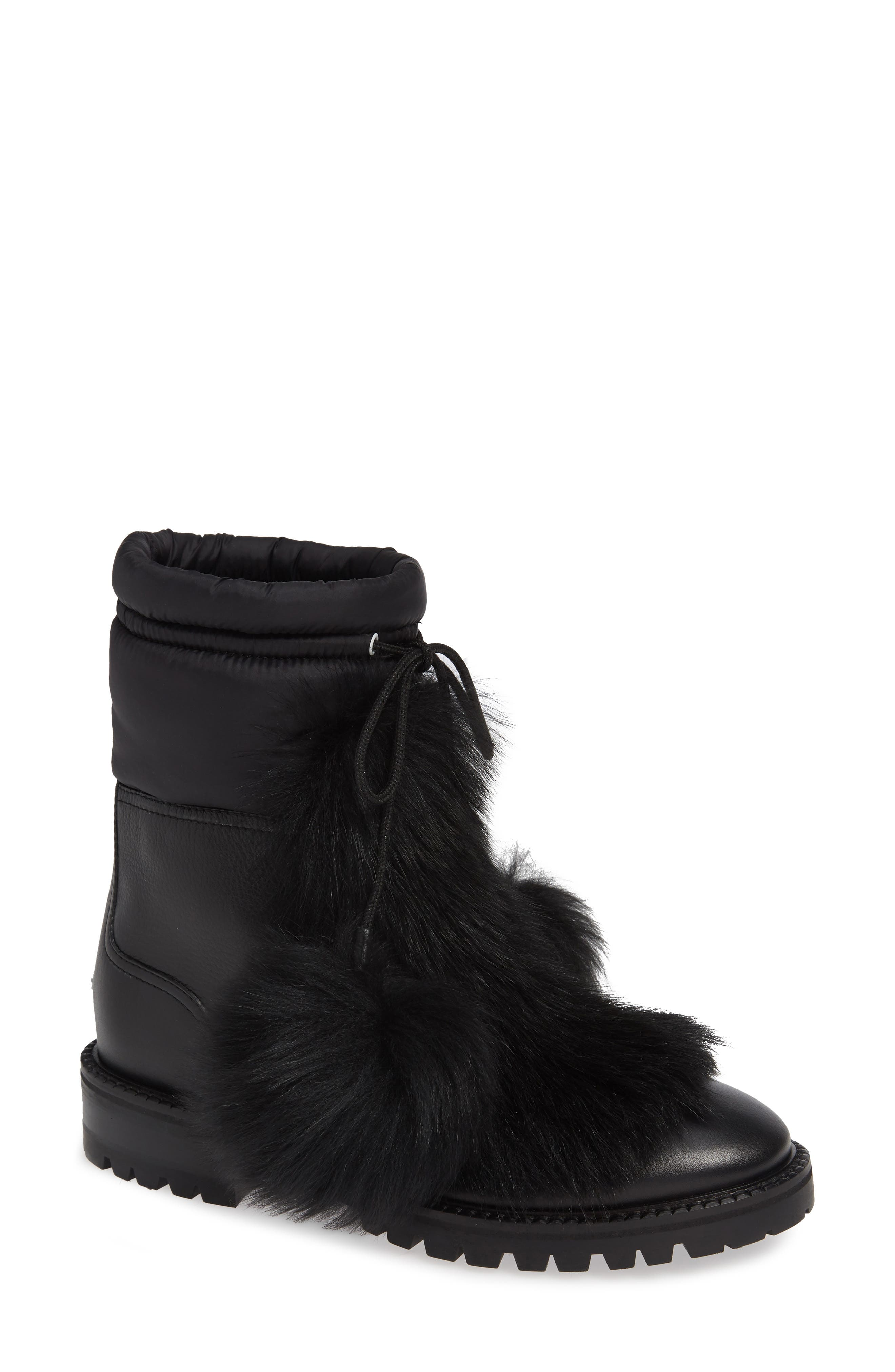 Glacie Genuine Shearling Bootie,                             Main thumbnail 1, color,                             BLACK