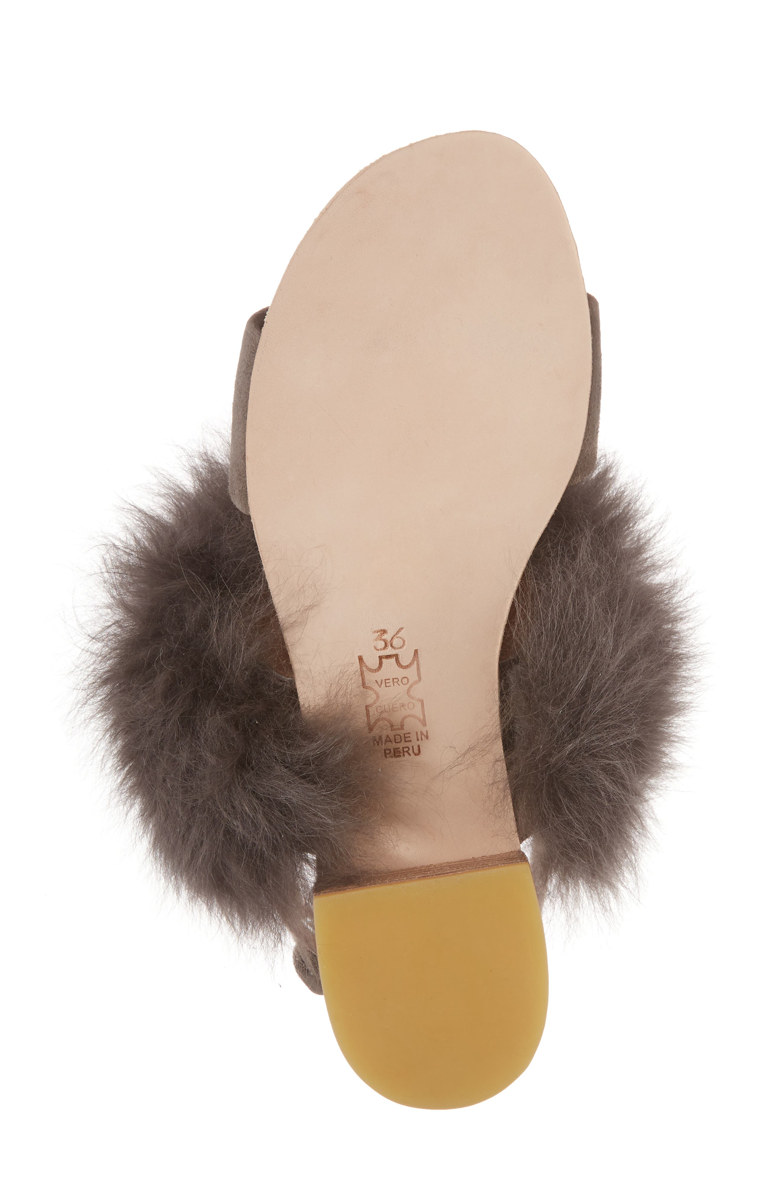 Clemence Genuine Alpaca Fur Sandal,                             Alternate thumbnail 6, color,                             GREY SUEDE