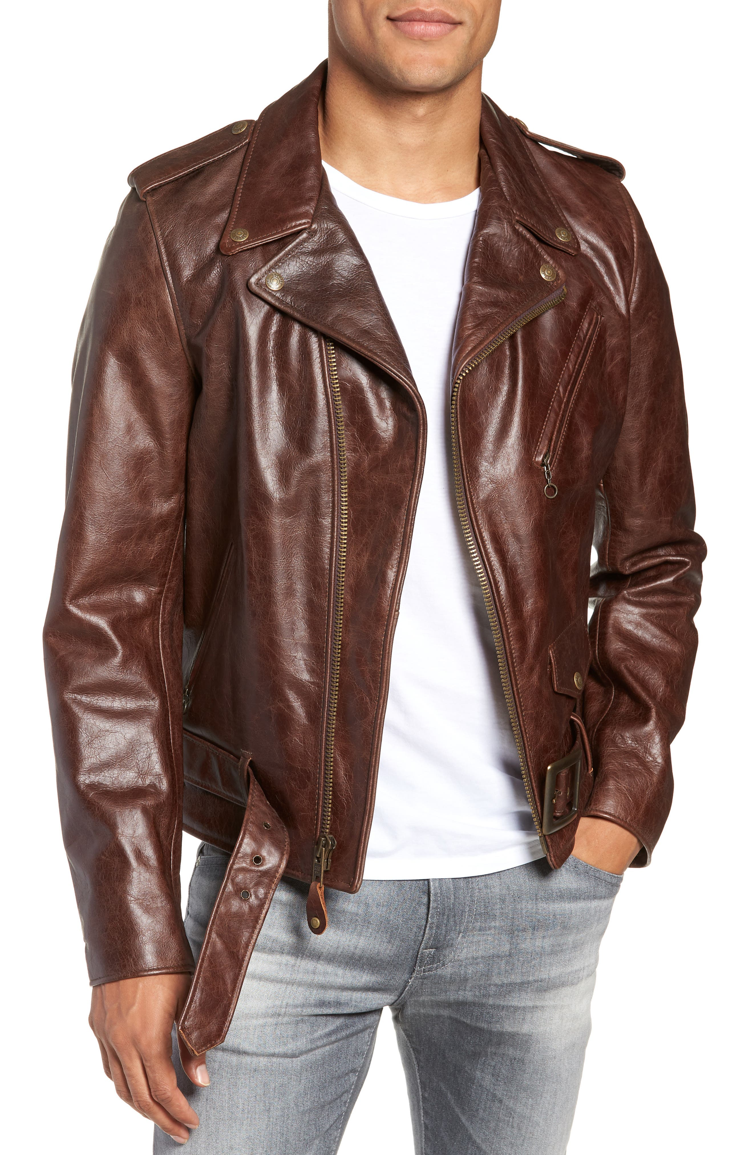 Waxy Cowhide Leather Motorcycle Jacket,                             Alternate thumbnail 2, color,                             BROWN