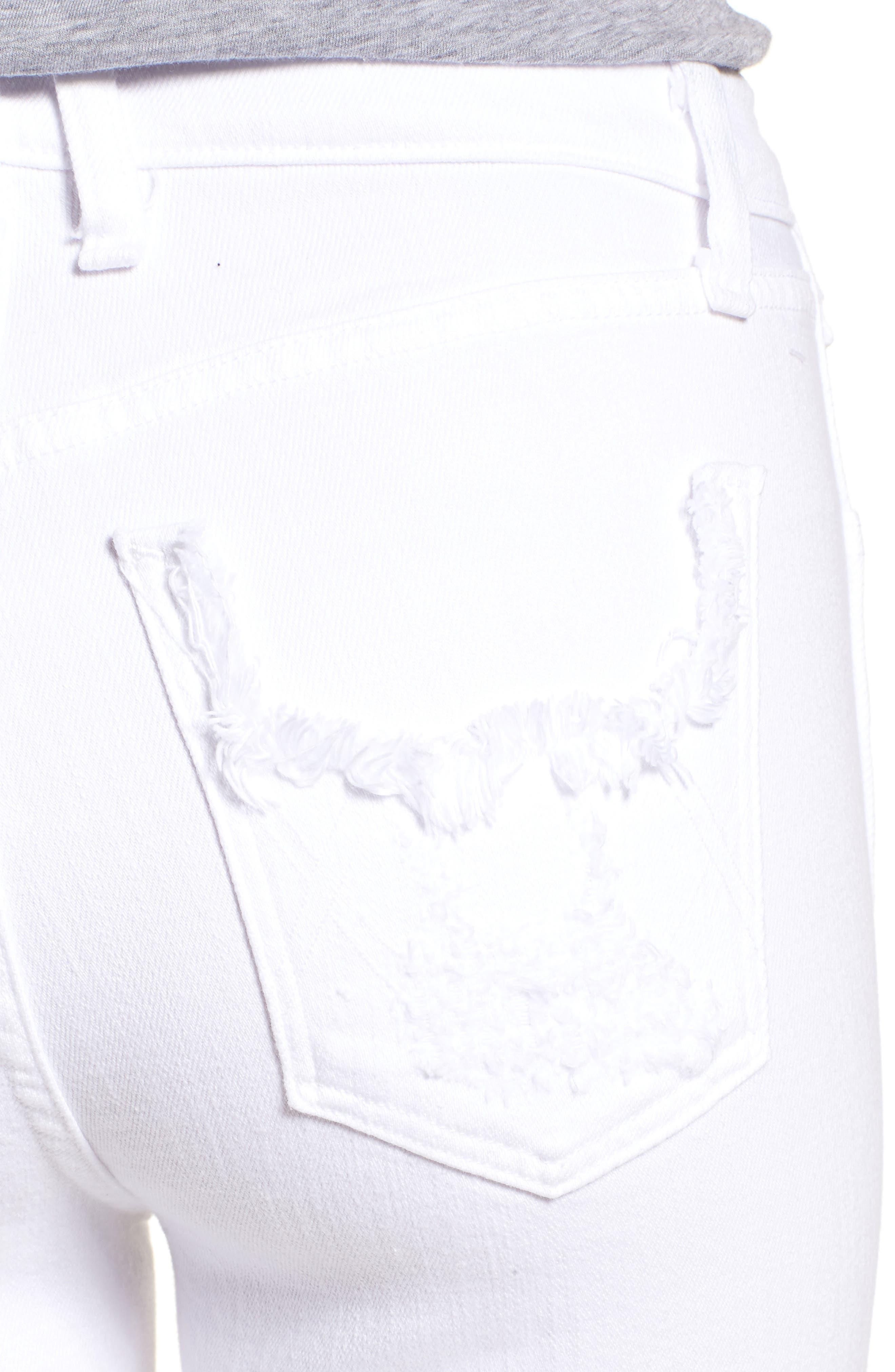 Kaia Distressed High Waist Slim Jeans,                             Alternate thumbnail 4, color,                             100