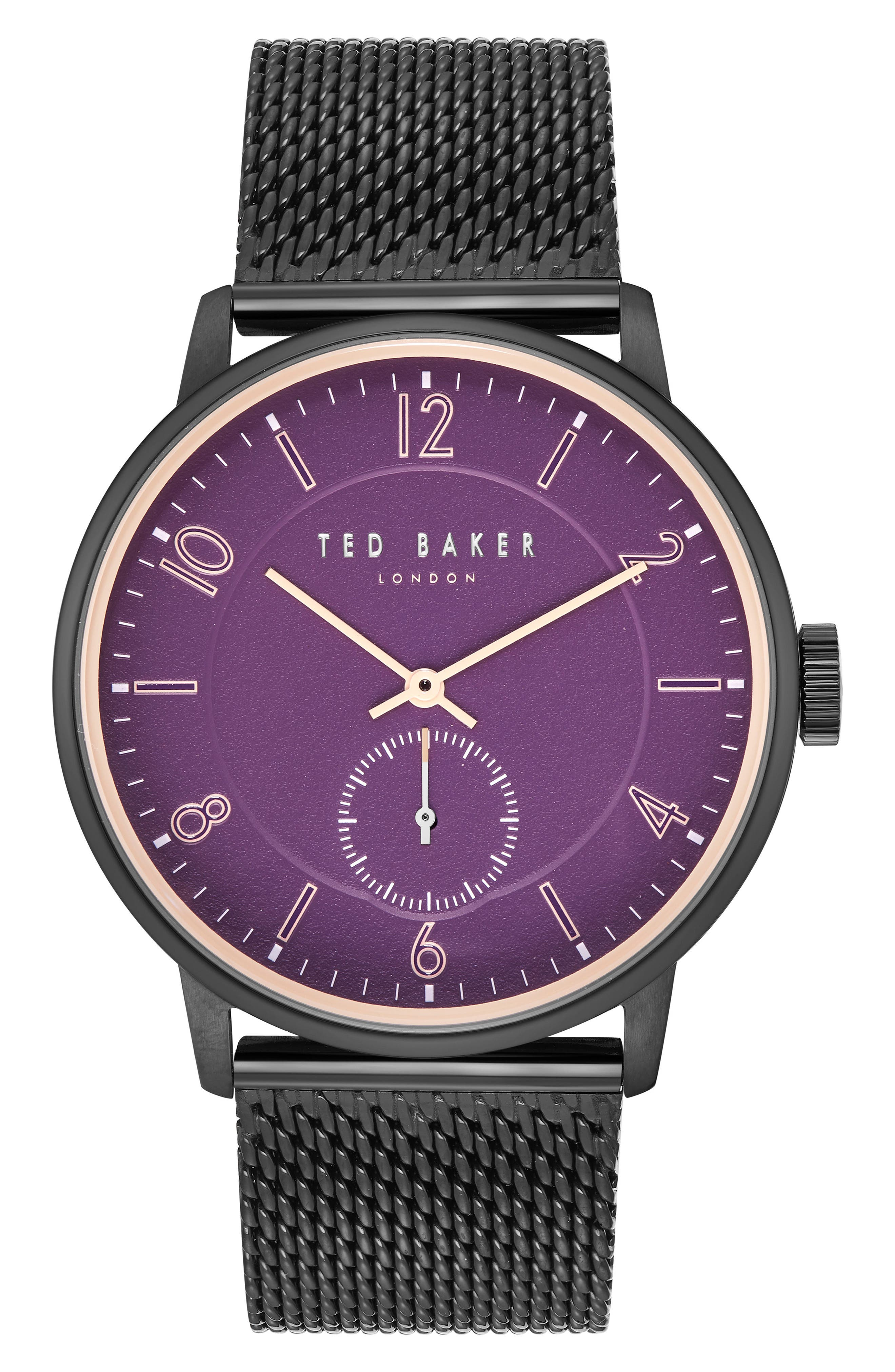 Owen Mesh Strap Watch, 42mm,                         Main,                         color, DARK PURPLE/ BLACK