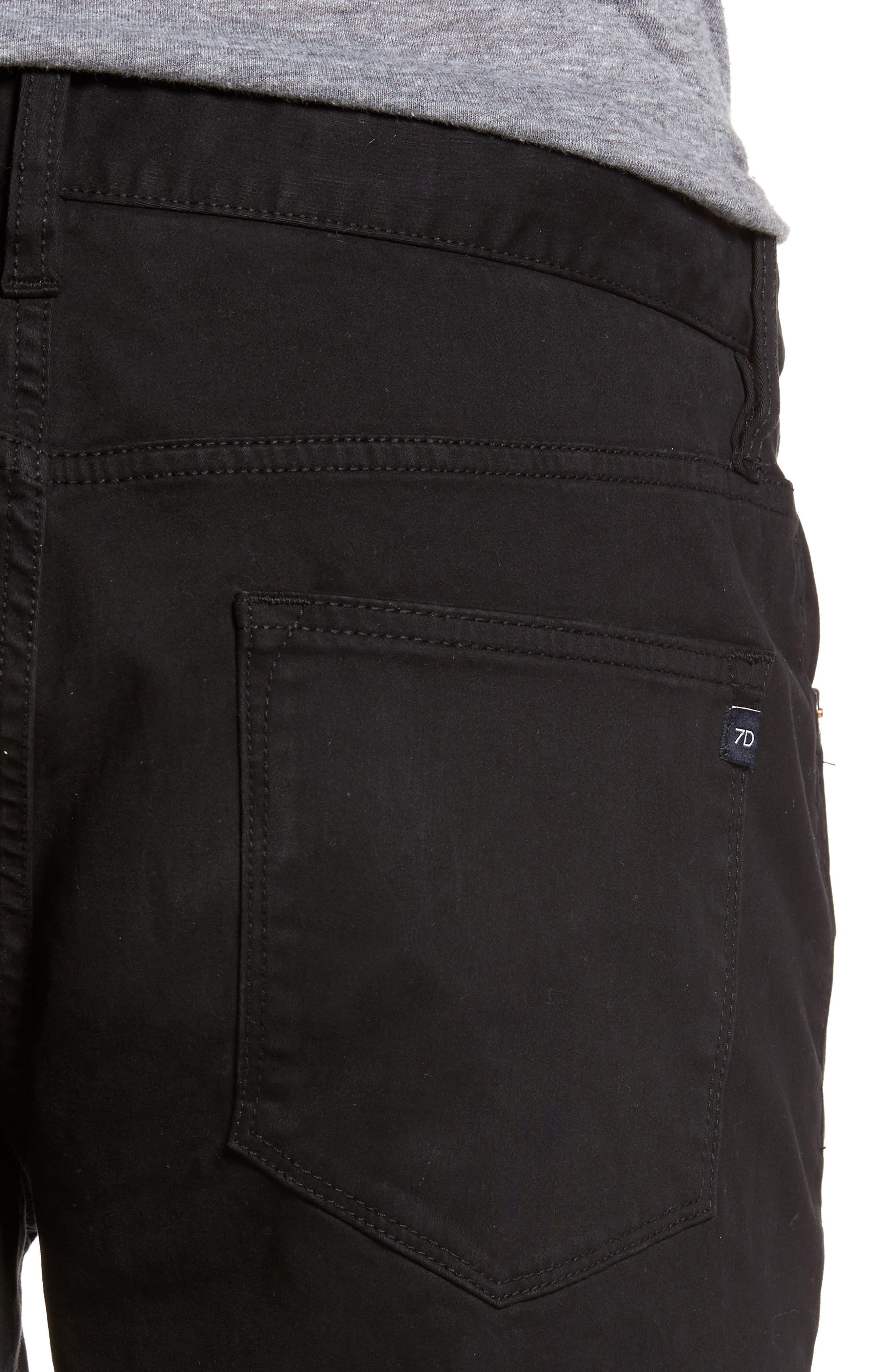 Brushed Twill Five-Pocket Pants,                             Alternate thumbnail 4, color,                             BLACK