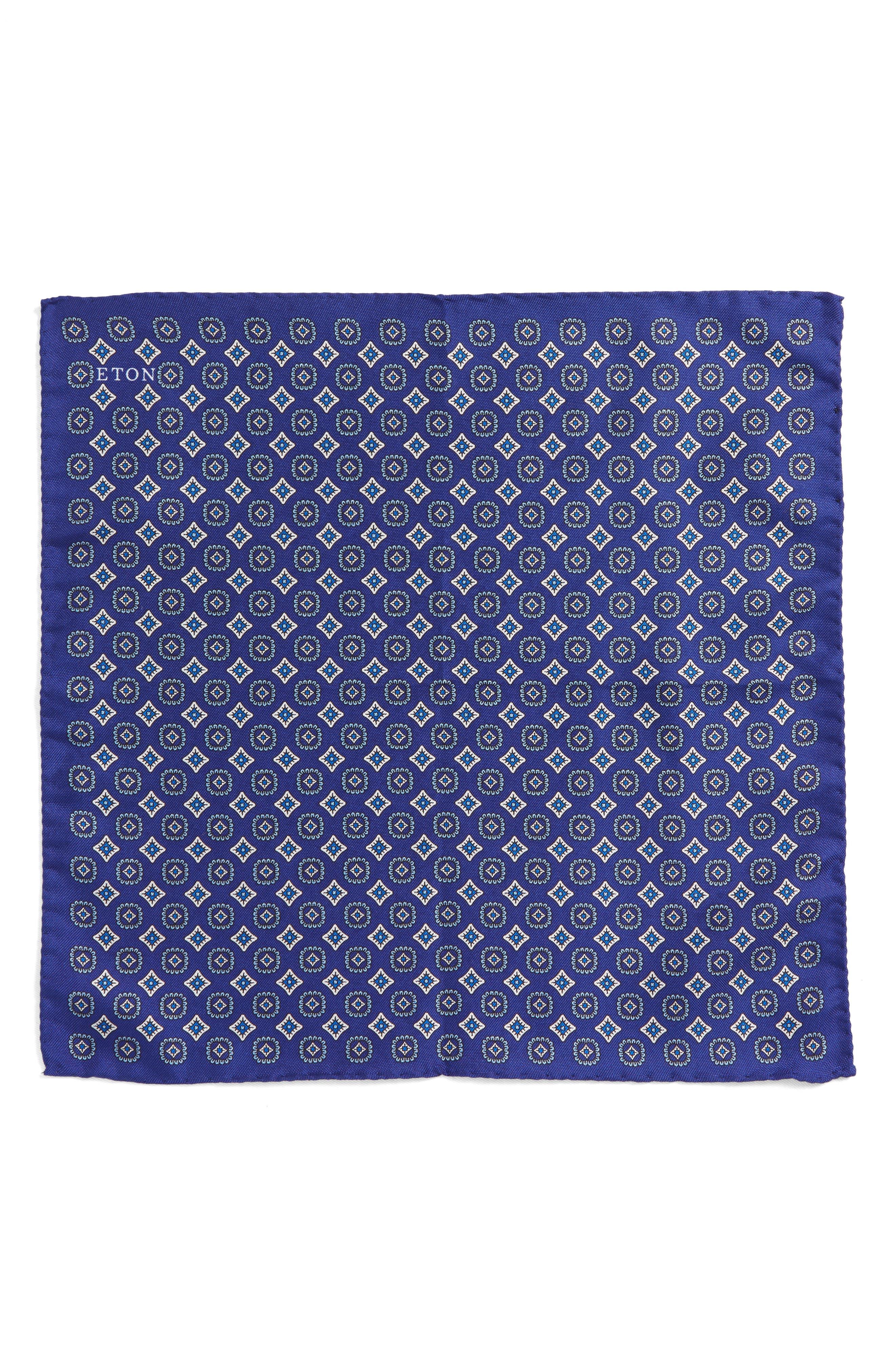 Medallion Silk Pocket Square,                             Alternate thumbnail 3, color,
