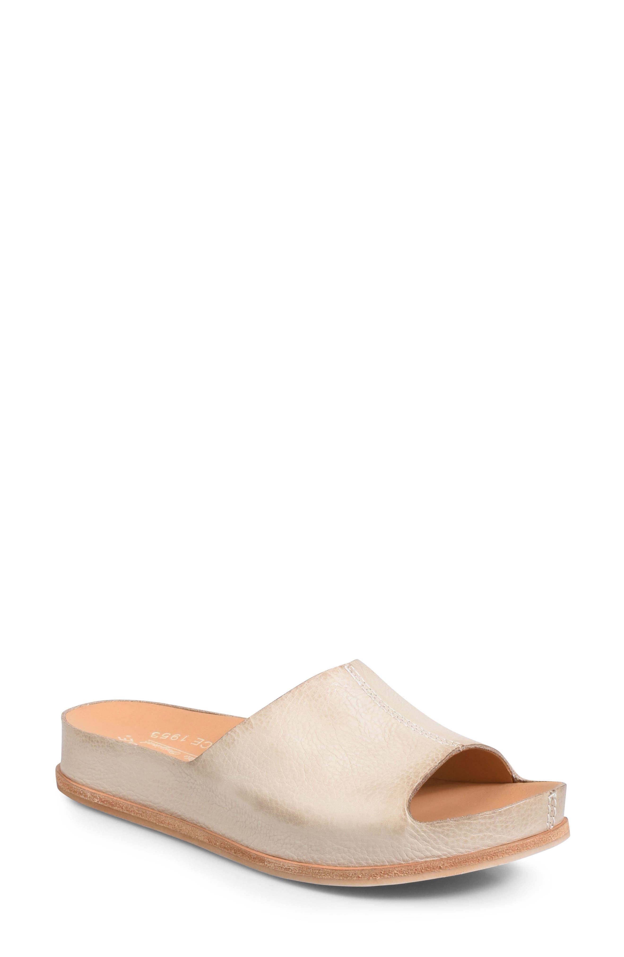 'Tutsi' Slide Sandal,                         Main,                         color, LIGHT GREY LEATHER