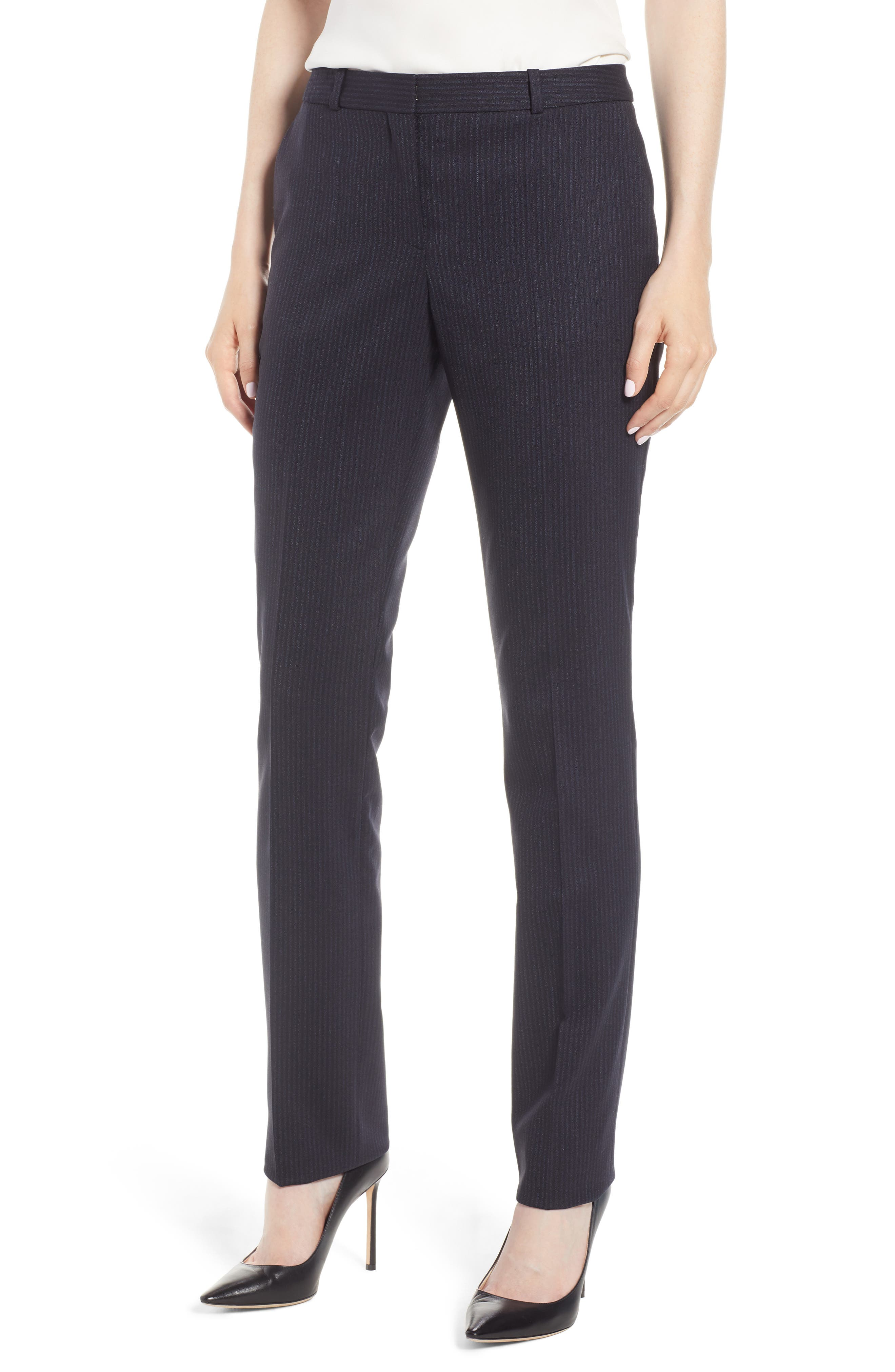 Titana Tonal Stripe Stretch Wool Trousers,                         Main,                         color, NAVY FANTASY