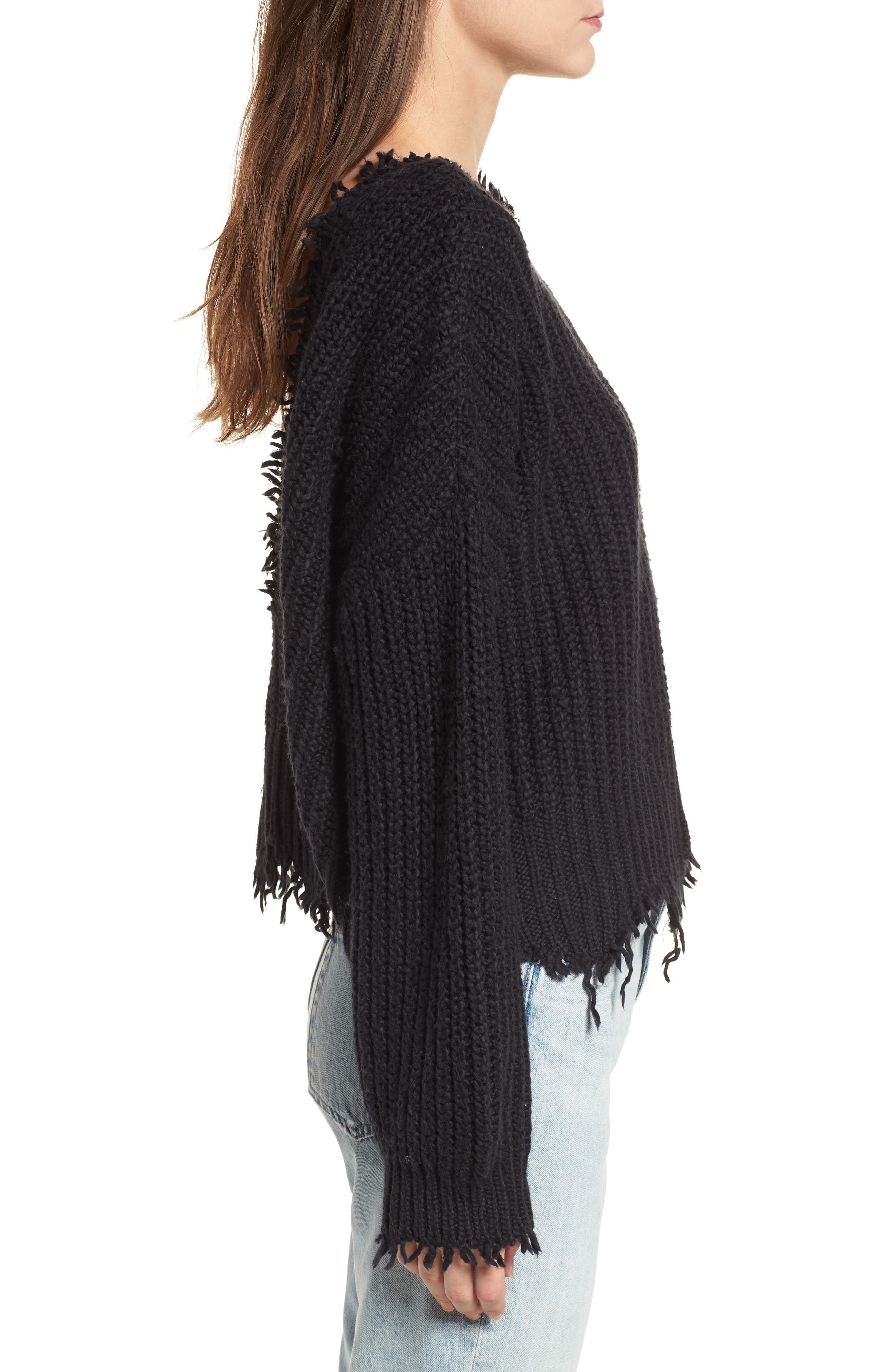 Palmetto Frayed Sweater,                             Alternate thumbnail 3, color,                             BLACK