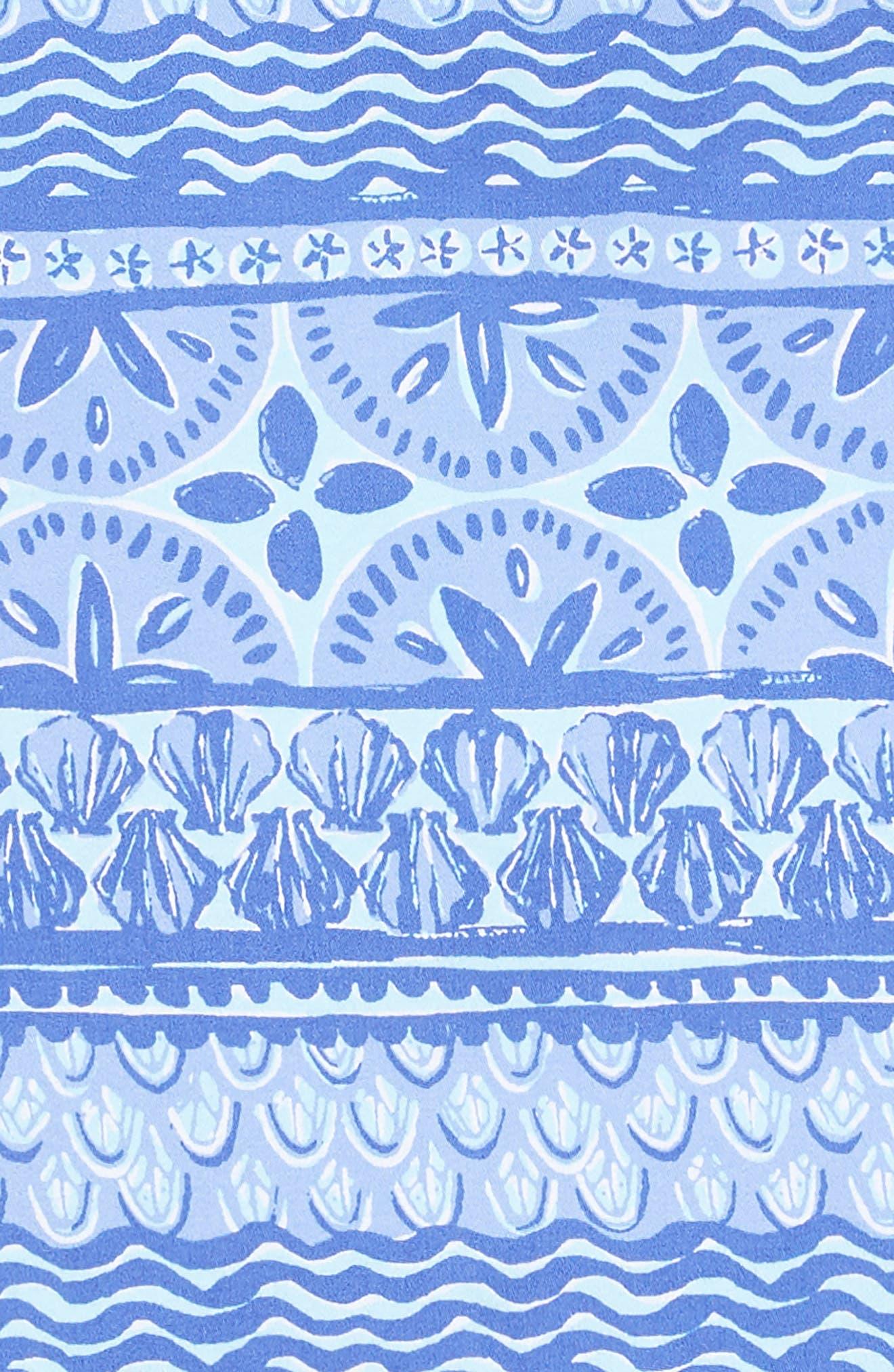 Shell Print Dress,                             Alternate thumbnail 3, color,                             CRYSTAL BLUE