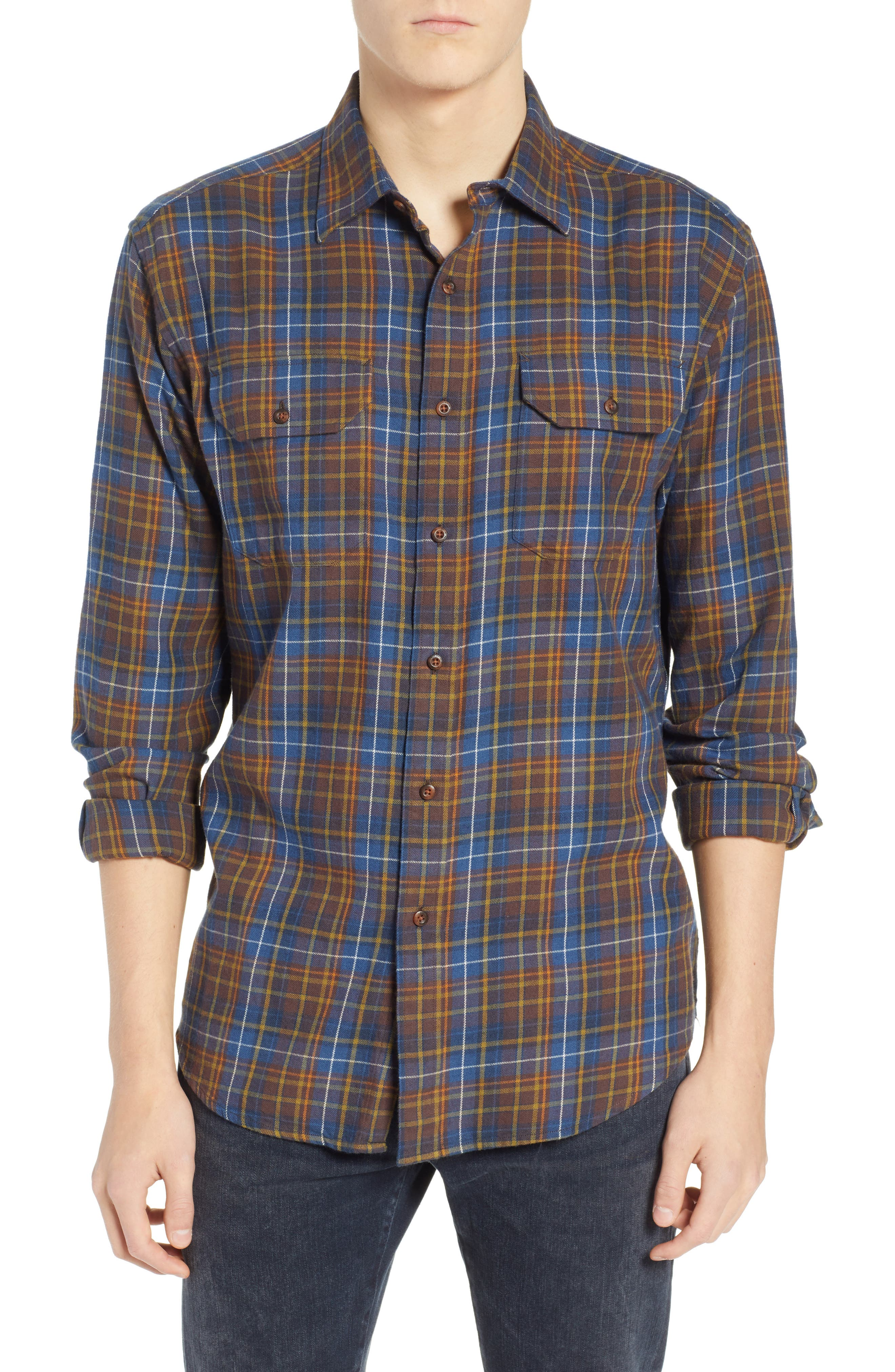 Bridger Plaid Twill Shirt,                             Main thumbnail 1, color,                             BLUE/ BROWN/ GREEN PLAID