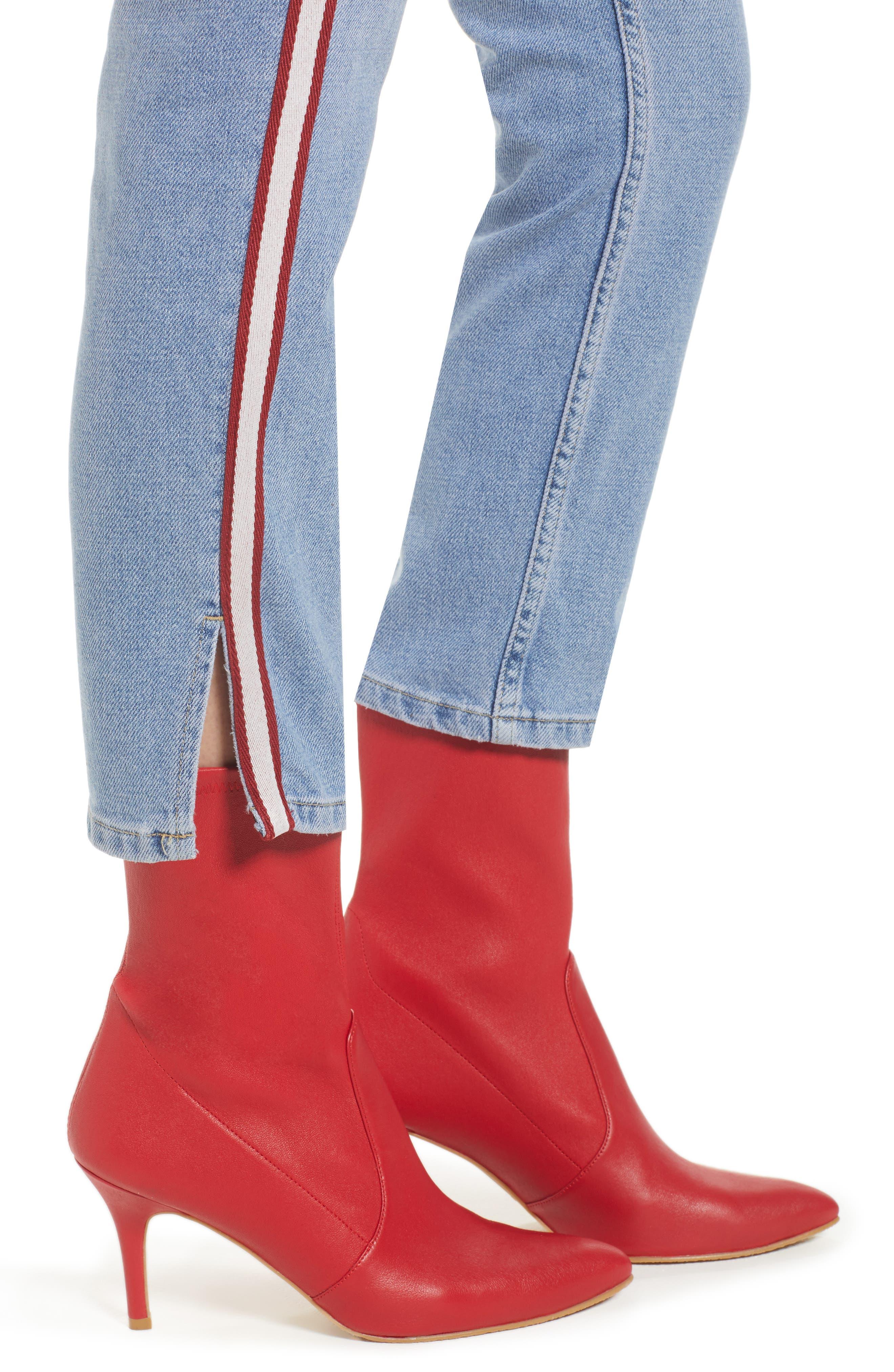 Moto Crop Straight Leg Jeans,                             Alternate thumbnail 4, color,